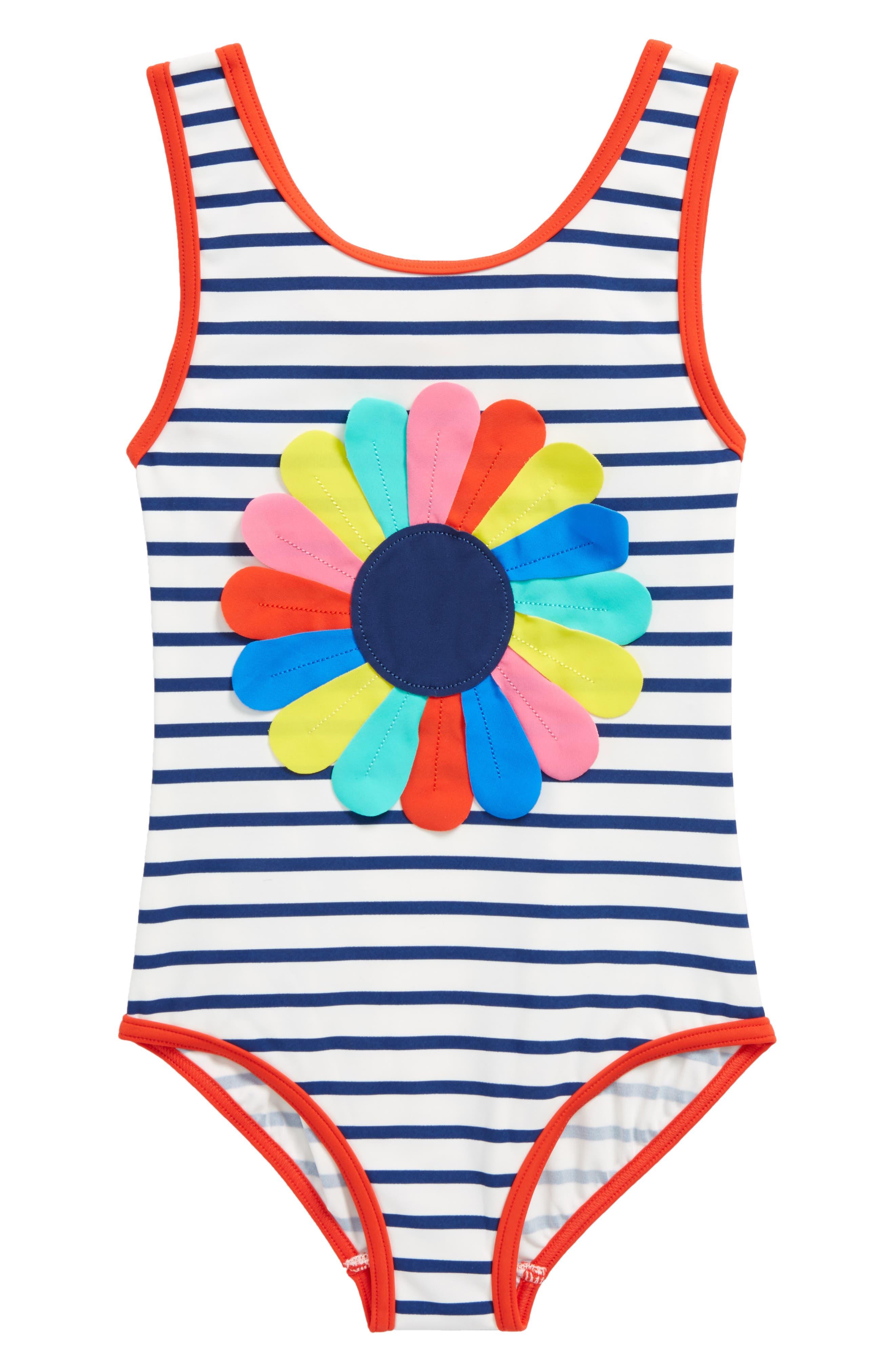 Appliqué One-Piece Swimsuit,                         Main,                         color, Ivory/ Deep Sea Blue/ Flower