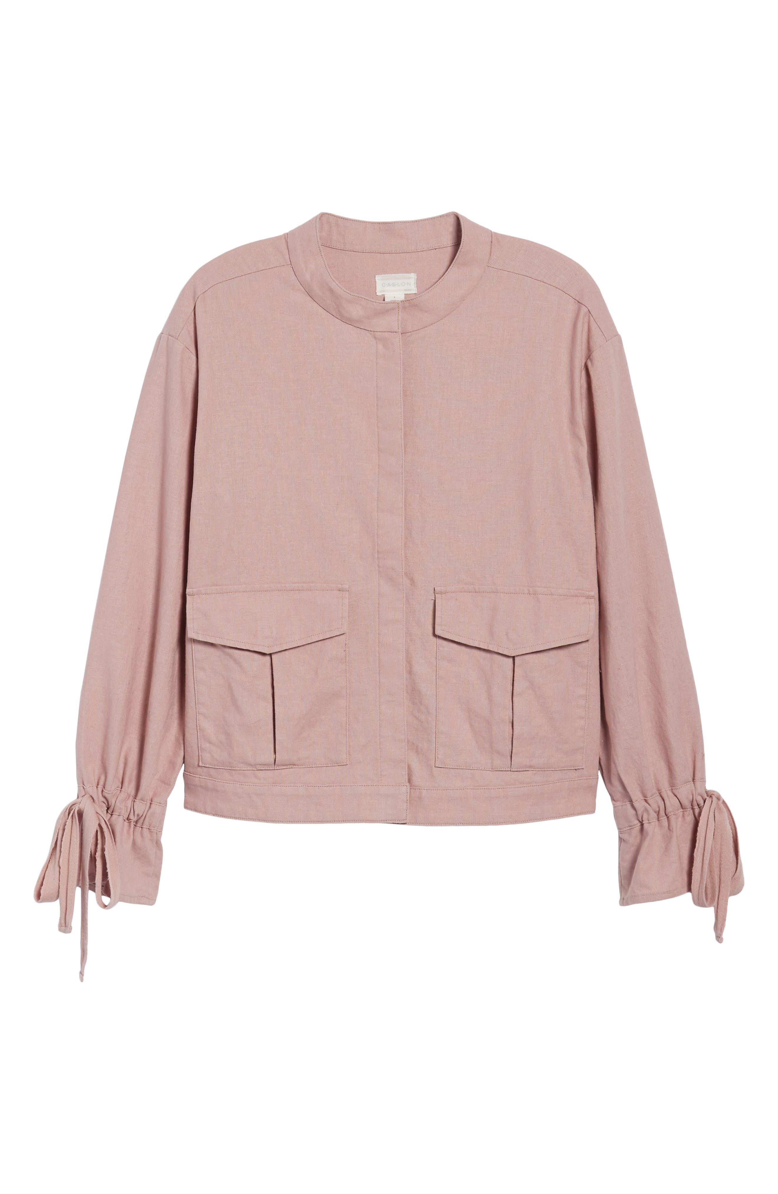 Tie Sleeve Linen & Cotton Jacket,                             Alternate thumbnail 6, color,                             Pink Adobe
