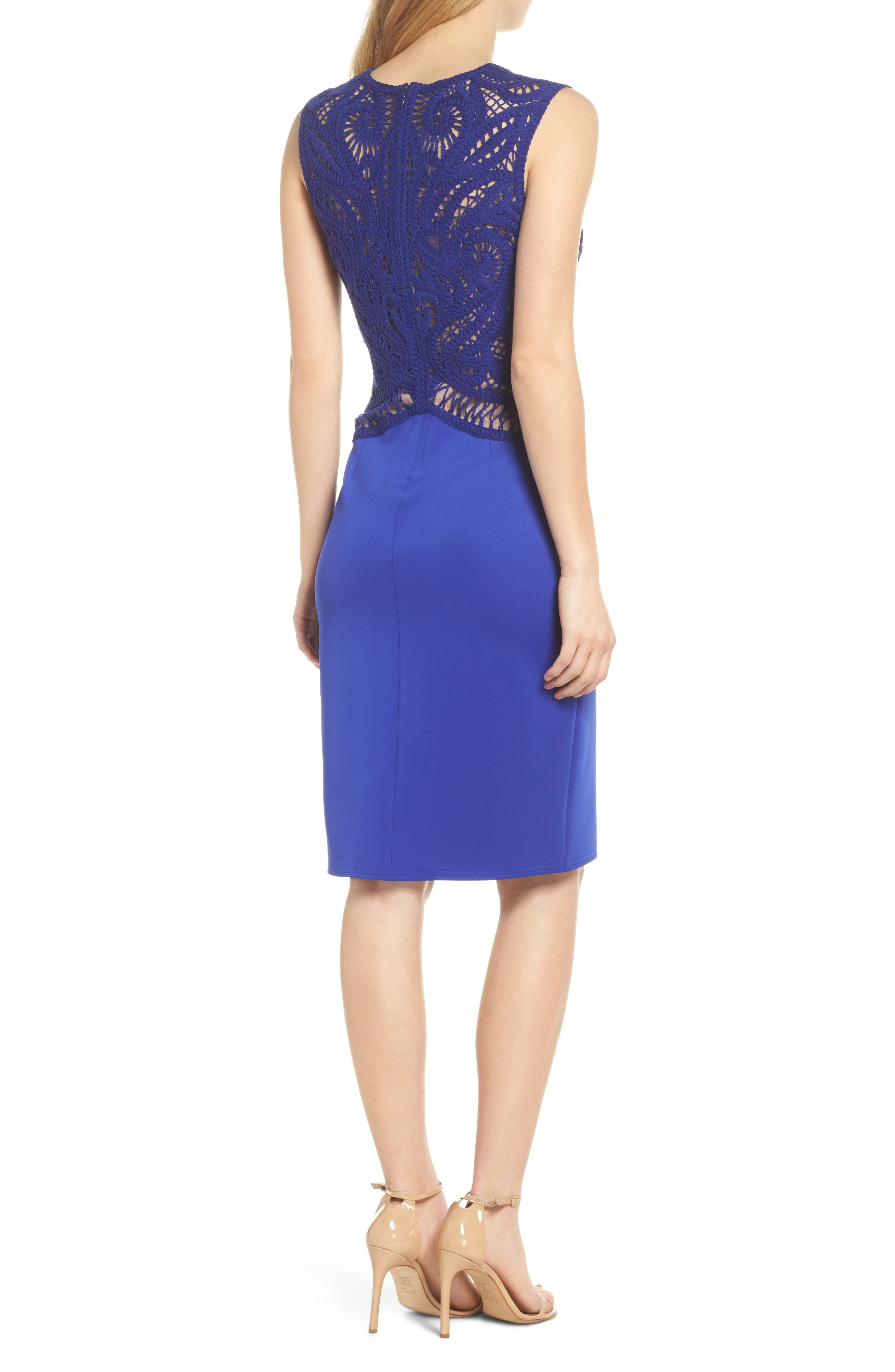 Alternate Image 2  - Tadashi Shoji Crochet & Crepe Sheath Dress