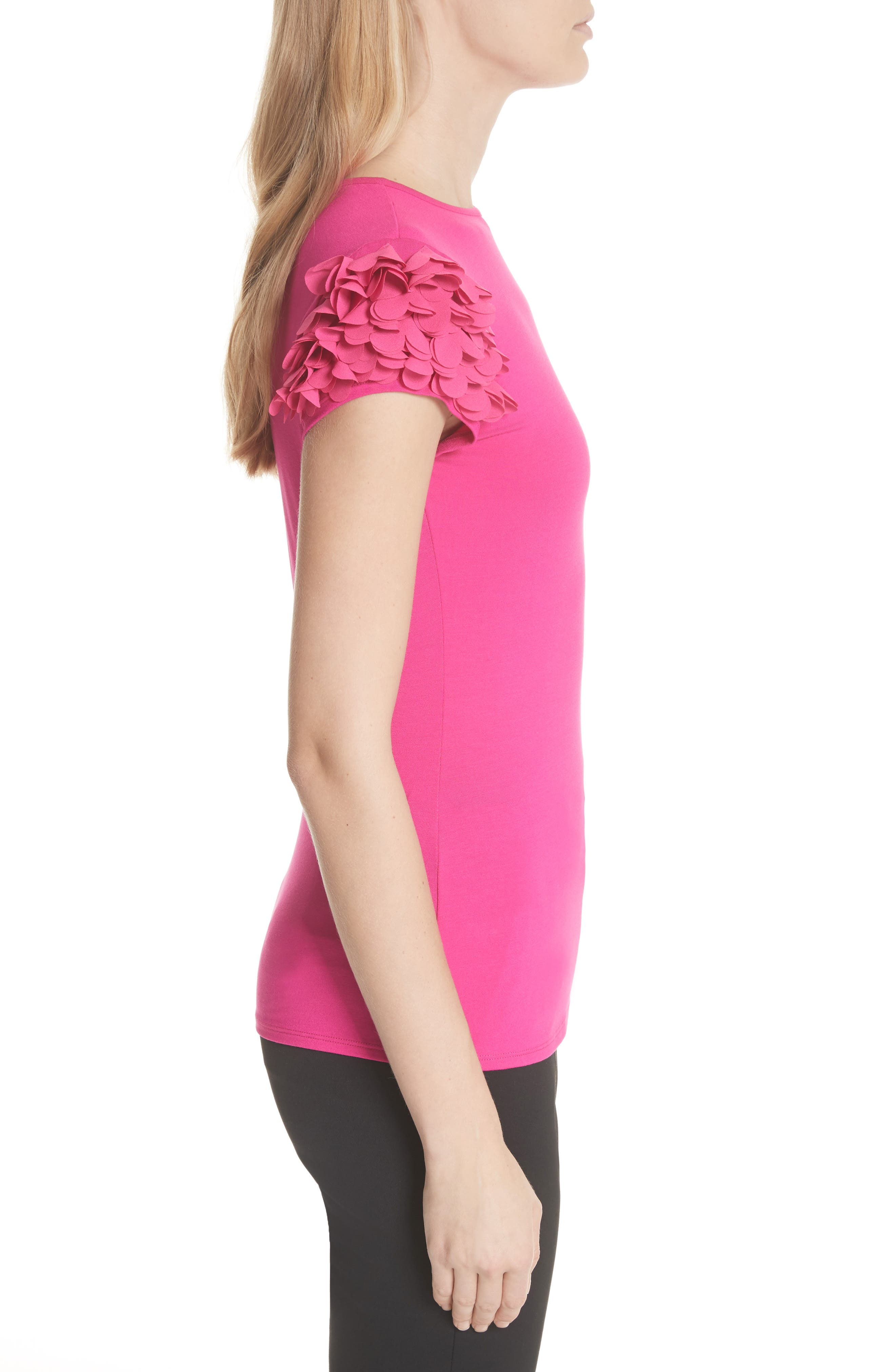 Floral Appliqué Sleeve Tee,                             Alternate thumbnail 3, color,                             Bright Pink