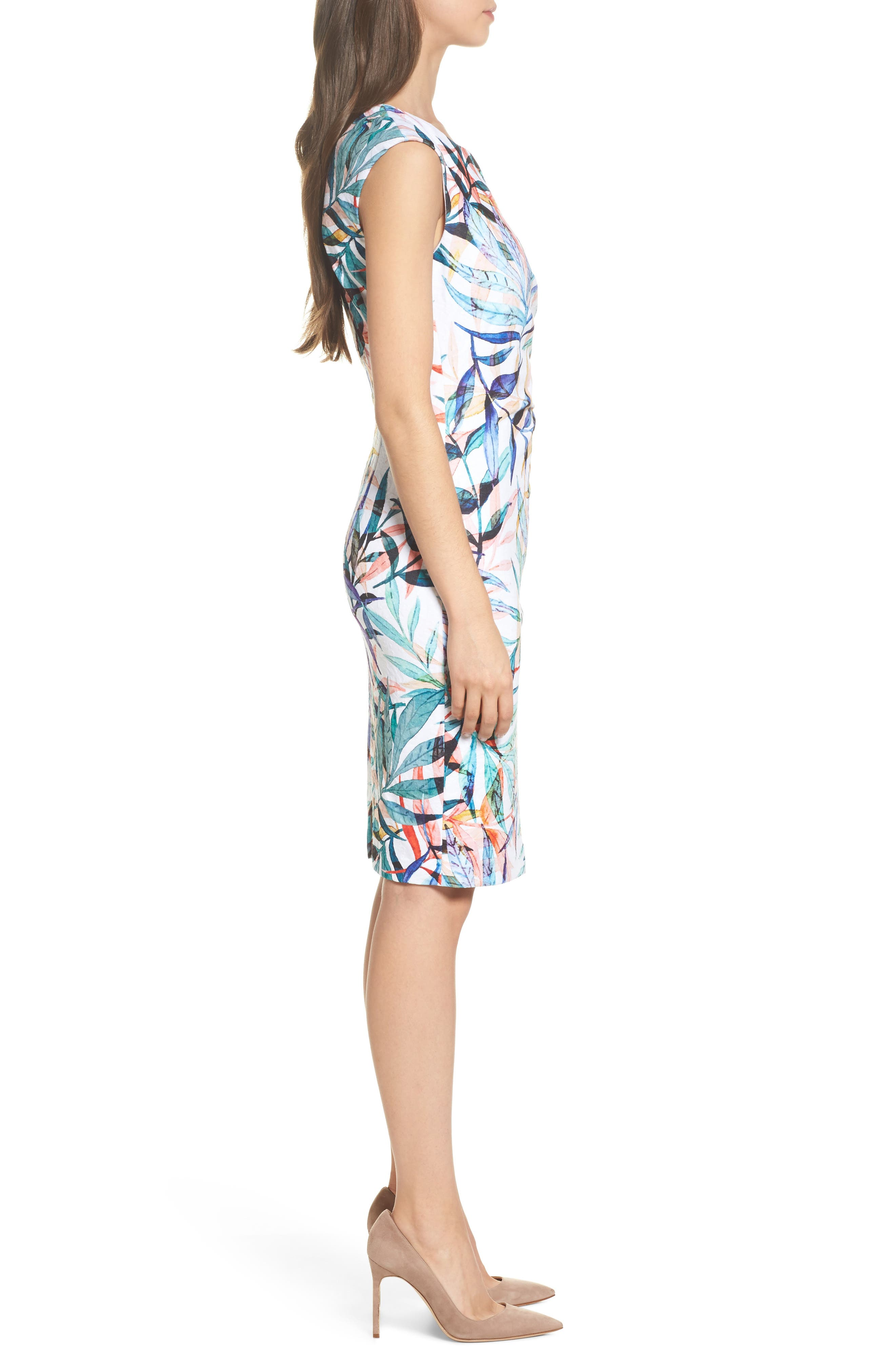 Alternate Image 3  - Adrianna Papell Watercolor Leaves Sheath Dress