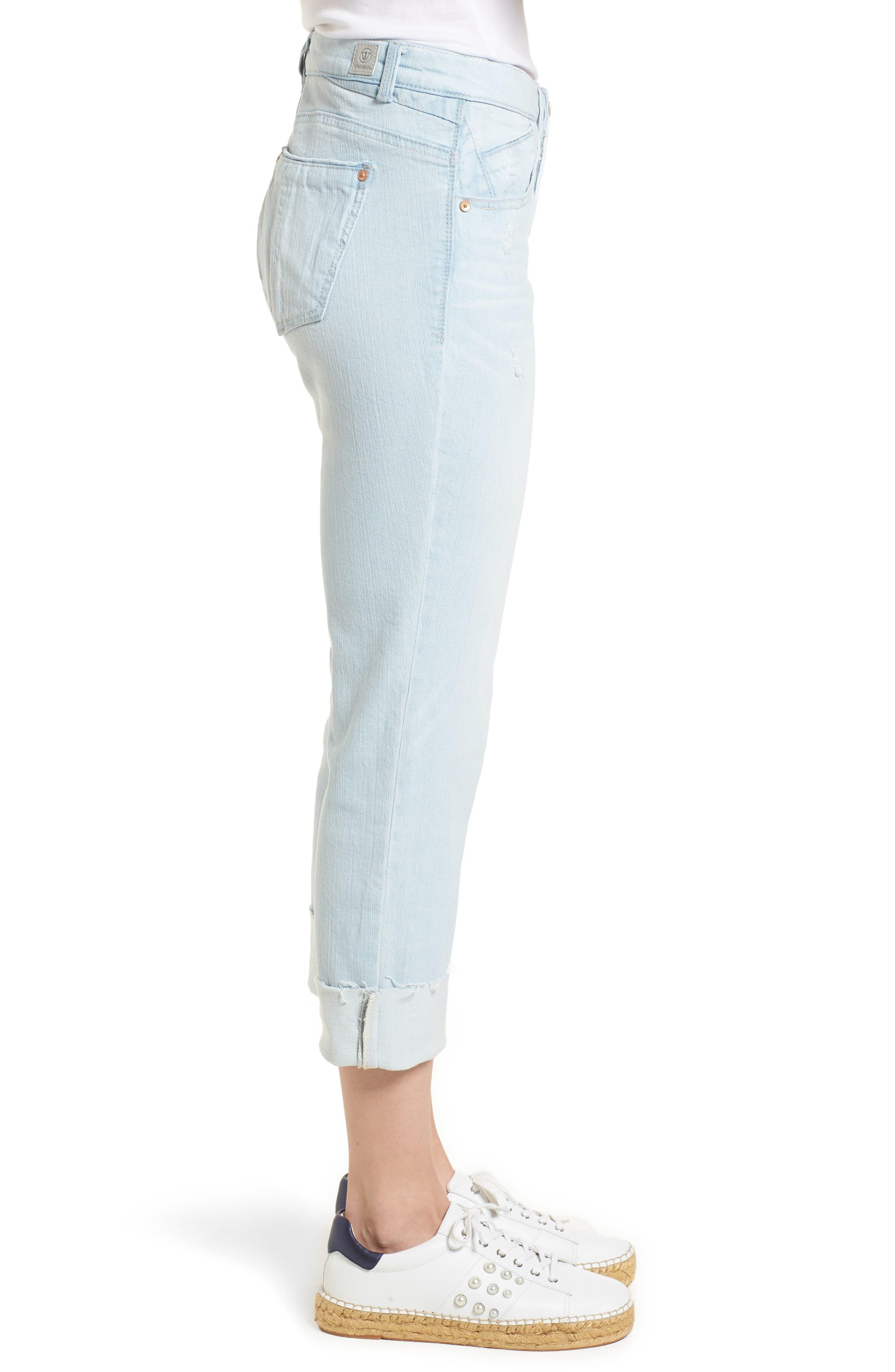 Flex-ellent Distressed Boyfriend Jeans,                             Alternate thumbnail 3, color,                             Light Blue