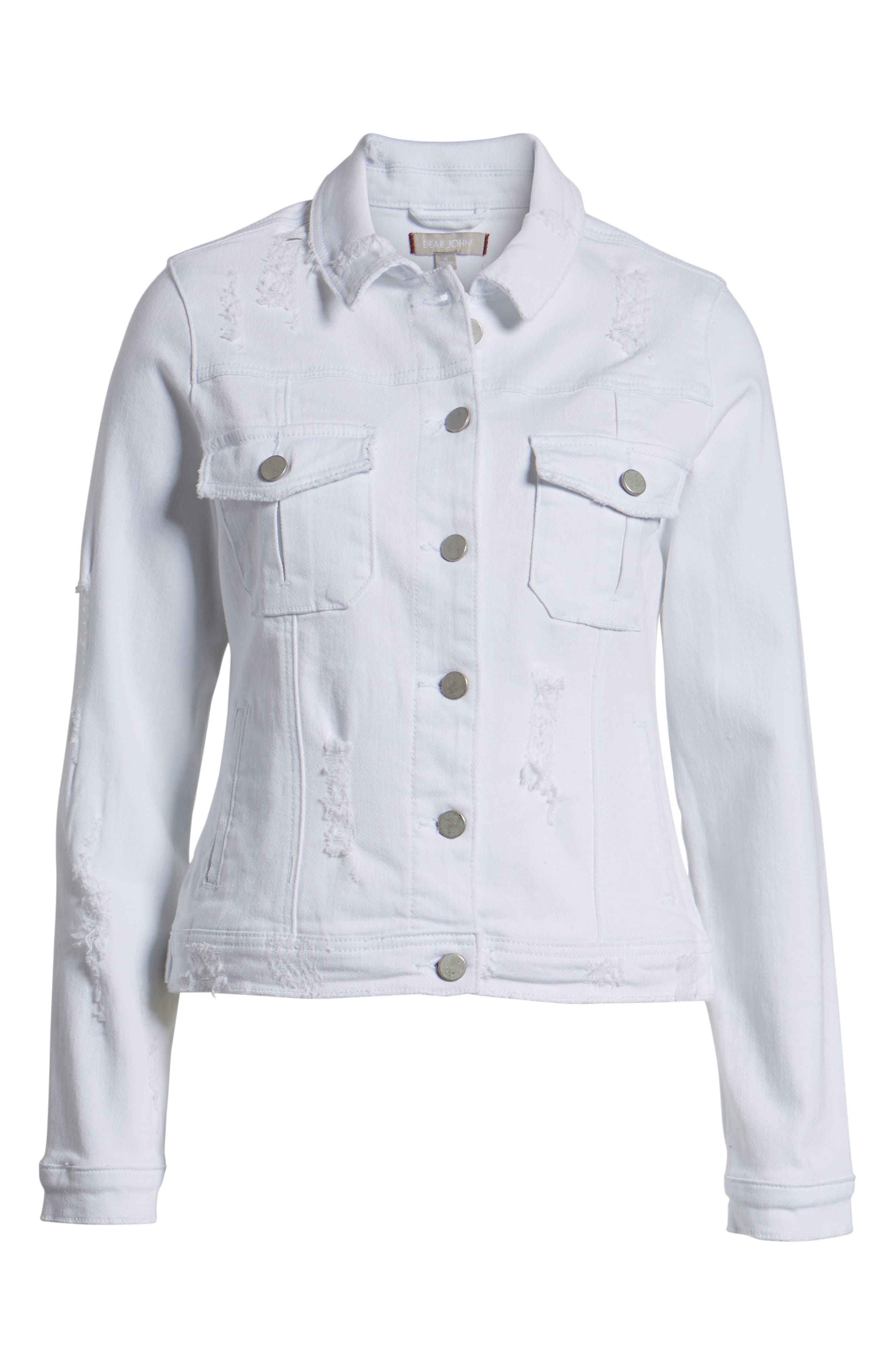 Classic Fit Distressed Denim Jacket,                             Alternate thumbnail 7, color,                             White