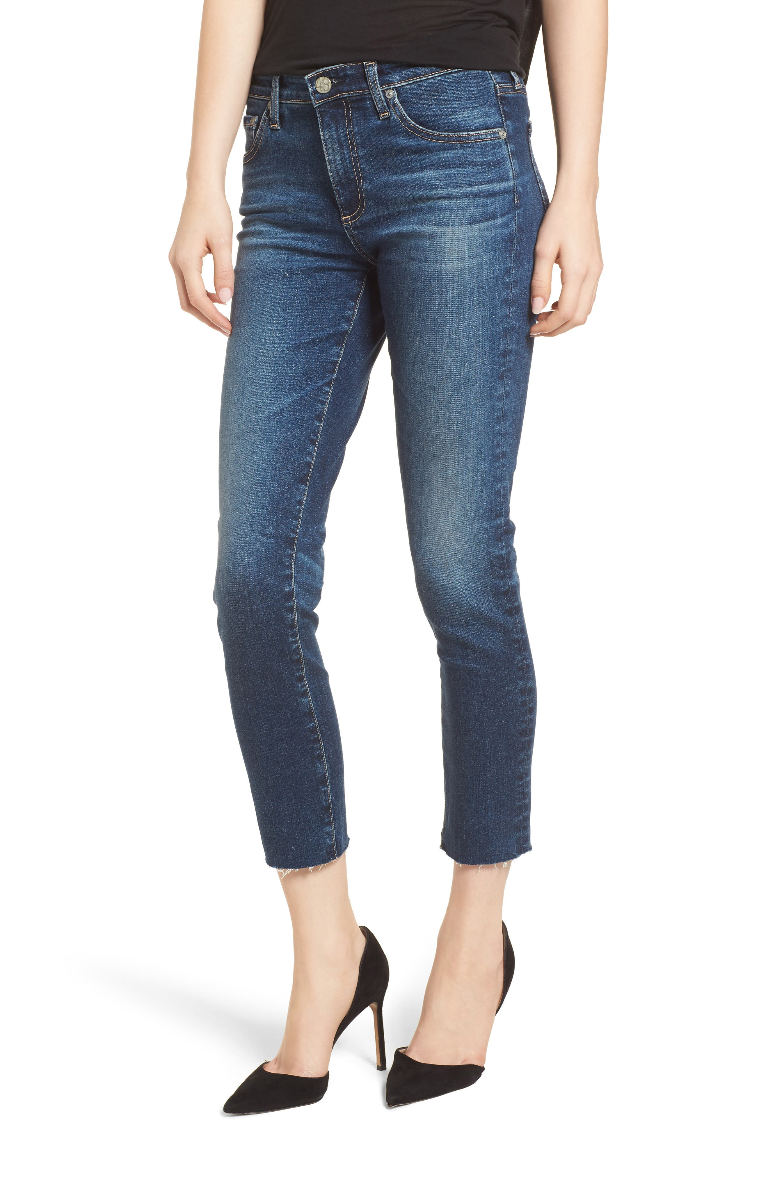 Prima Crop Skinny Jeans,                             Main thumbnail 1, color,                             5 Year Indigo Ave