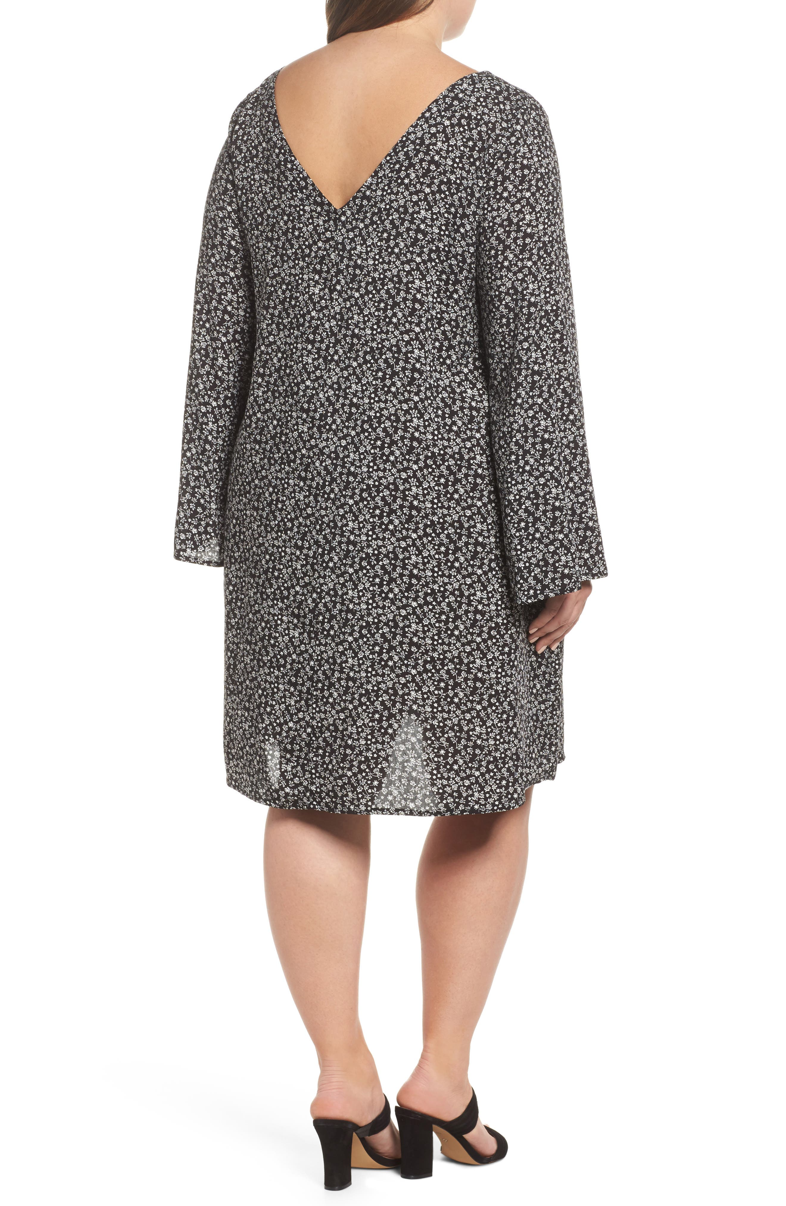 Double V-Neck Print Shift Dress,                             Alternate thumbnail 2, color,                             Ditsy Black Floral
