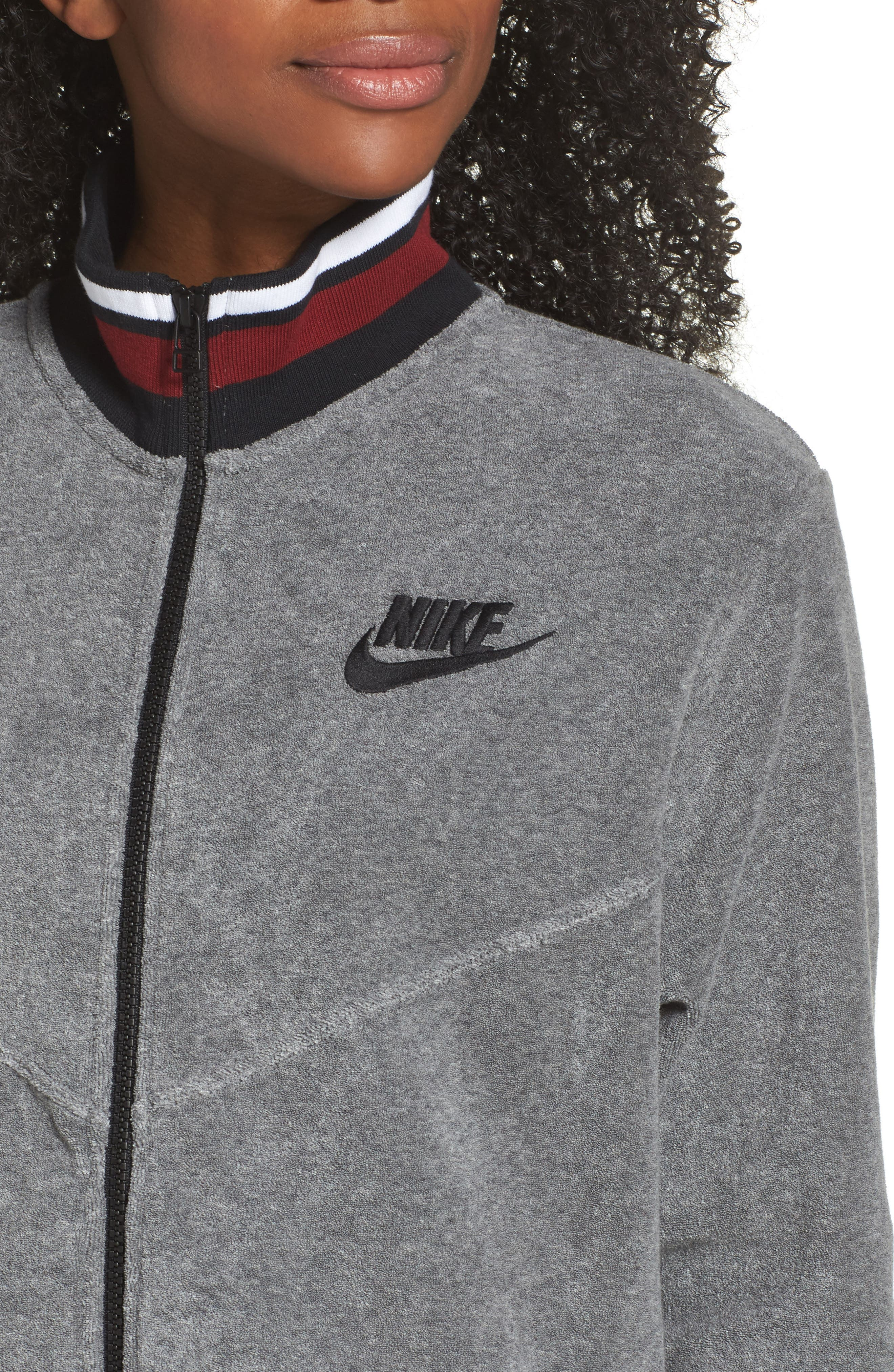 Sportswear French Terry Jacket,                             Alternate thumbnail 4, color,                             Heather/ Anthracite/ Team Red