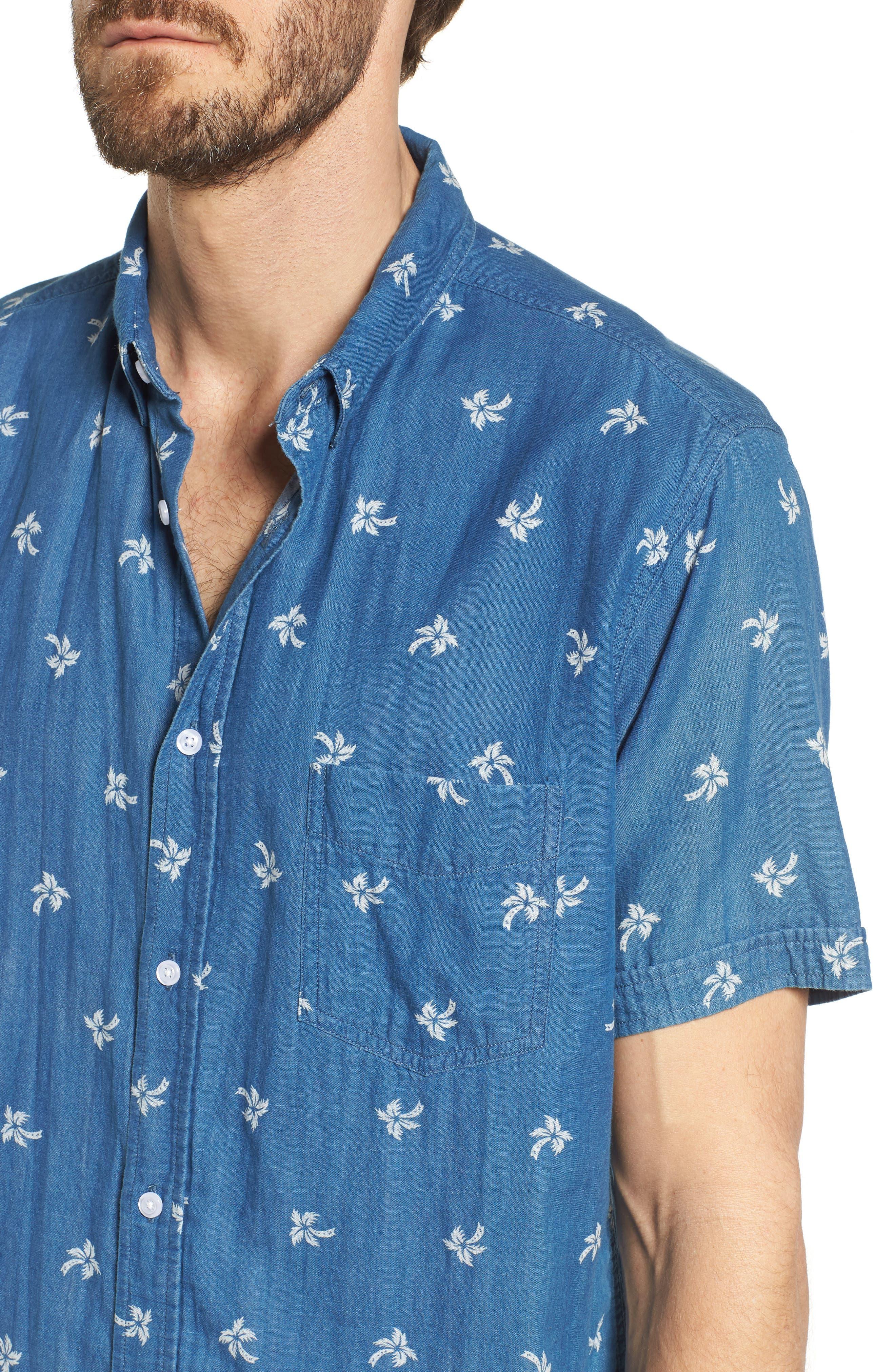 Carson Slim Fit Palm Print Sport Shirt,                             Alternate thumbnail 4, color,                             Indigo Tropic