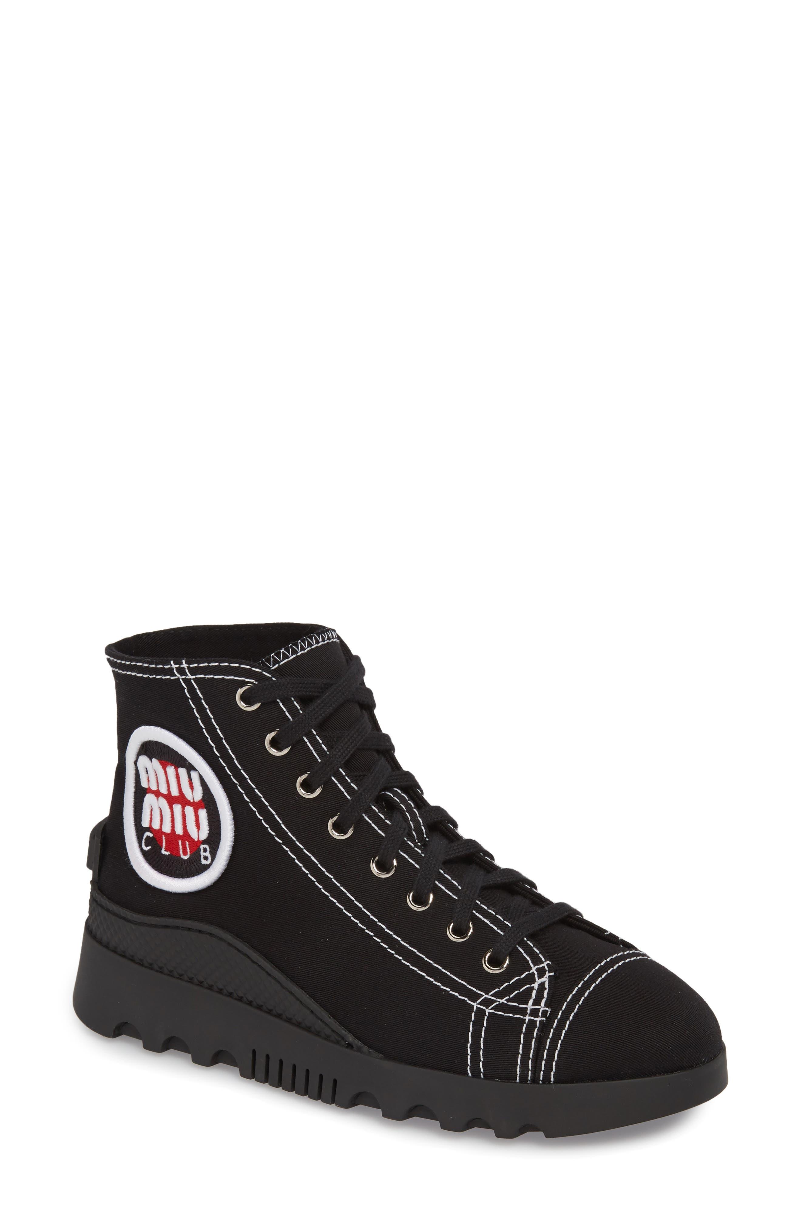 Miu Miu Logo High Top Sneaker (Women)
