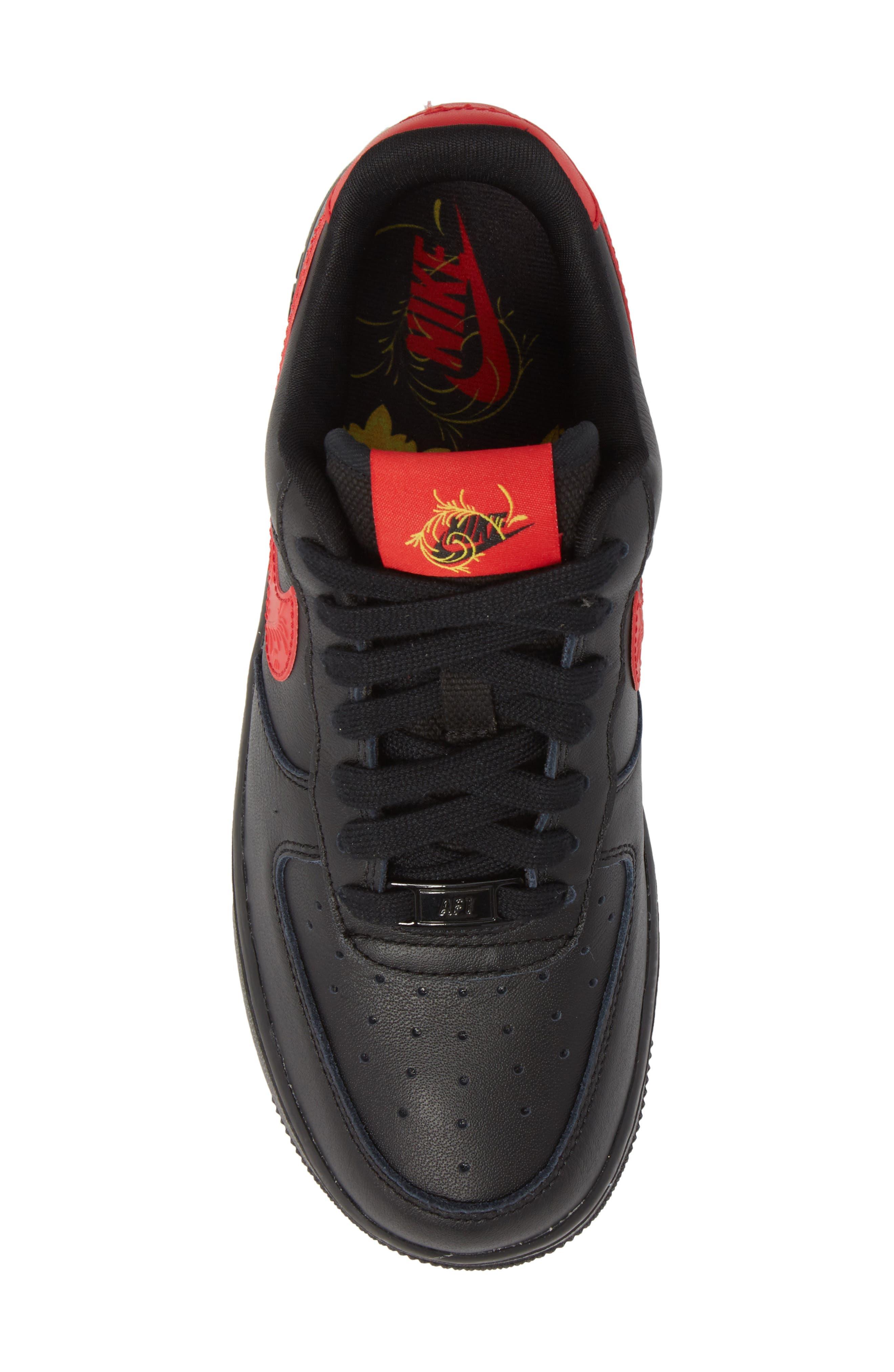 Air Force 1 '07 Sneaker,                             Alternate thumbnail 5, color,                             Black/ University Red