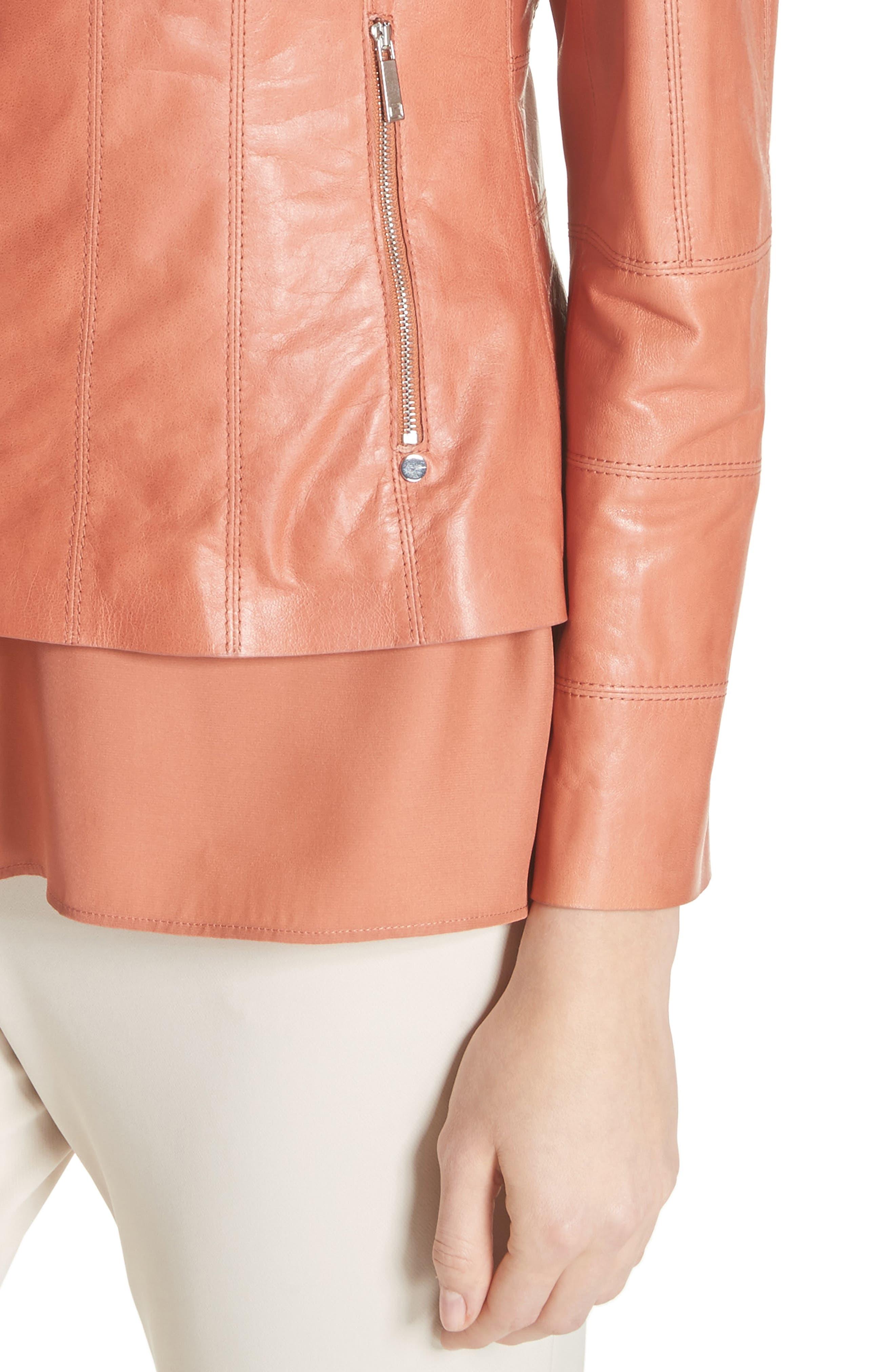 Courtney Glazed Lambskin Leather Jacket,                             Alternate thumbnail 4, color,                             Adobe
