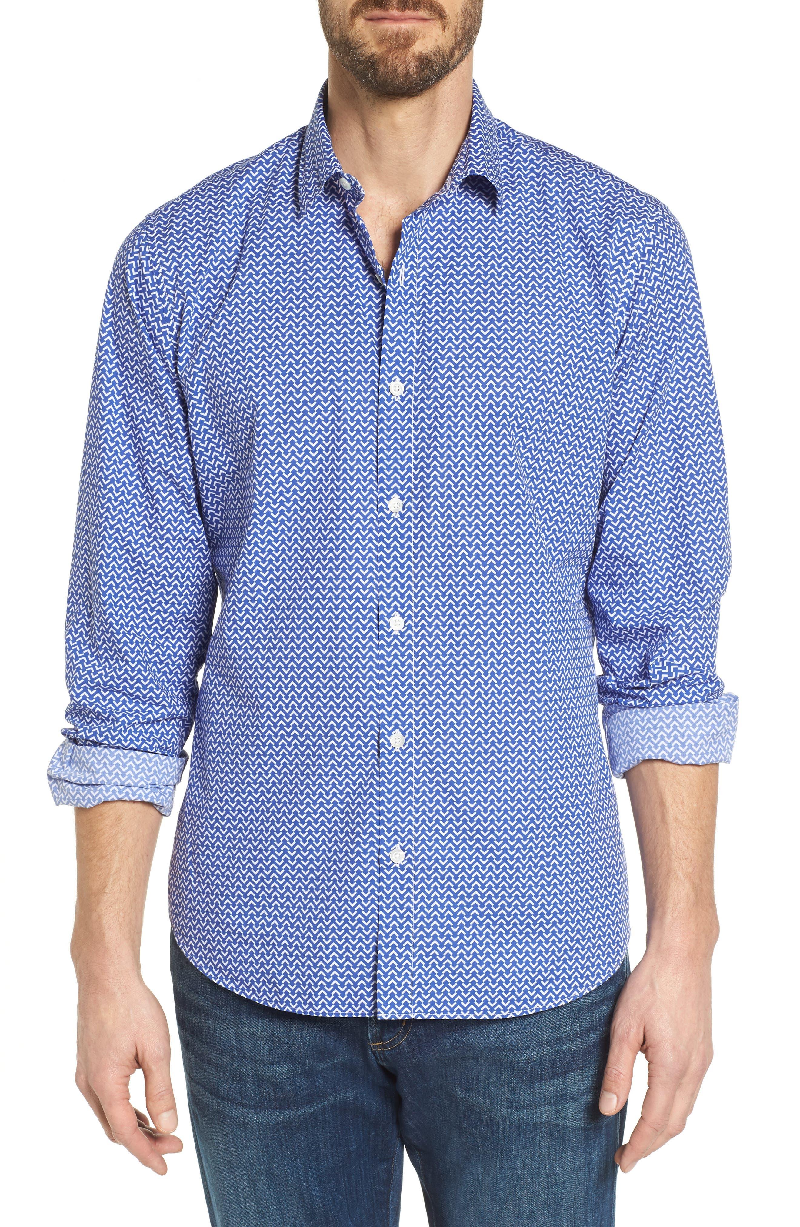 Premium Slim Fit Print Sport Shirt,                             Main thumbnail 1, color,                             Blue Wave