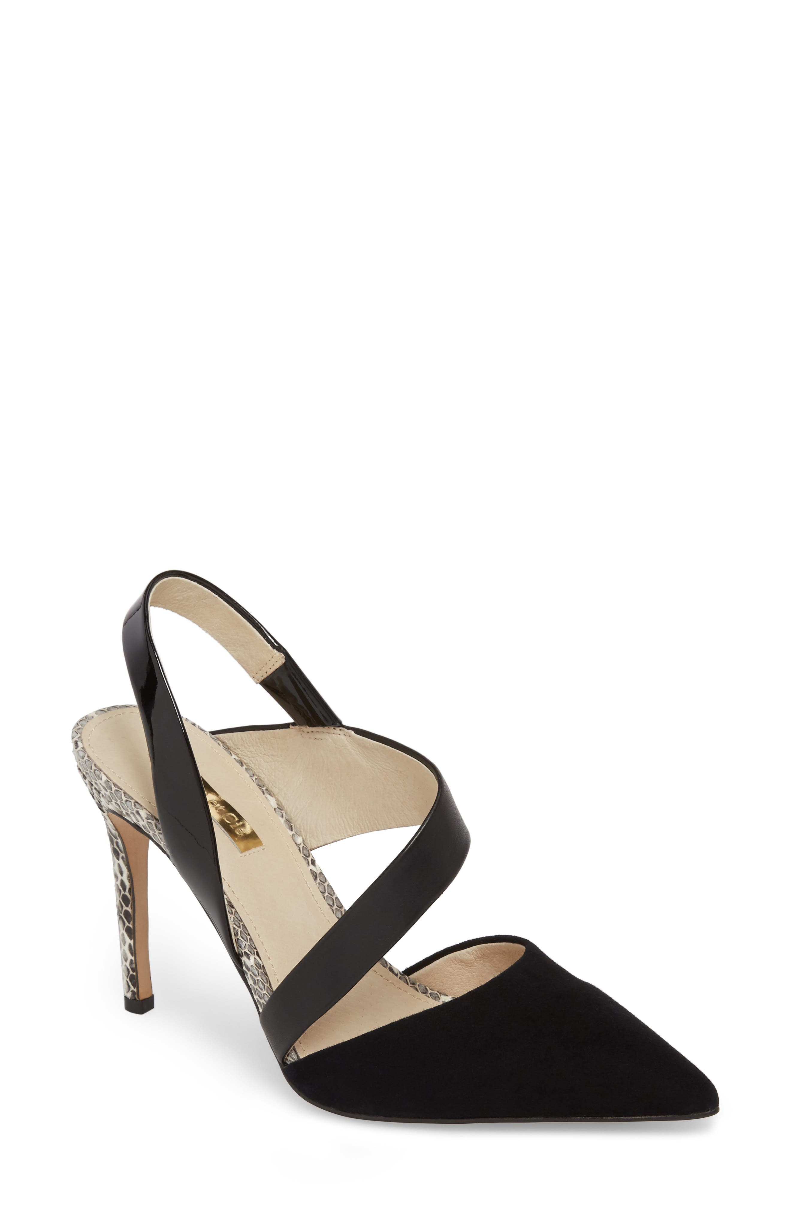 Jerry Pointy Toe Slingback Pump,                             Main thumbnail 1, color,                             Black Suede