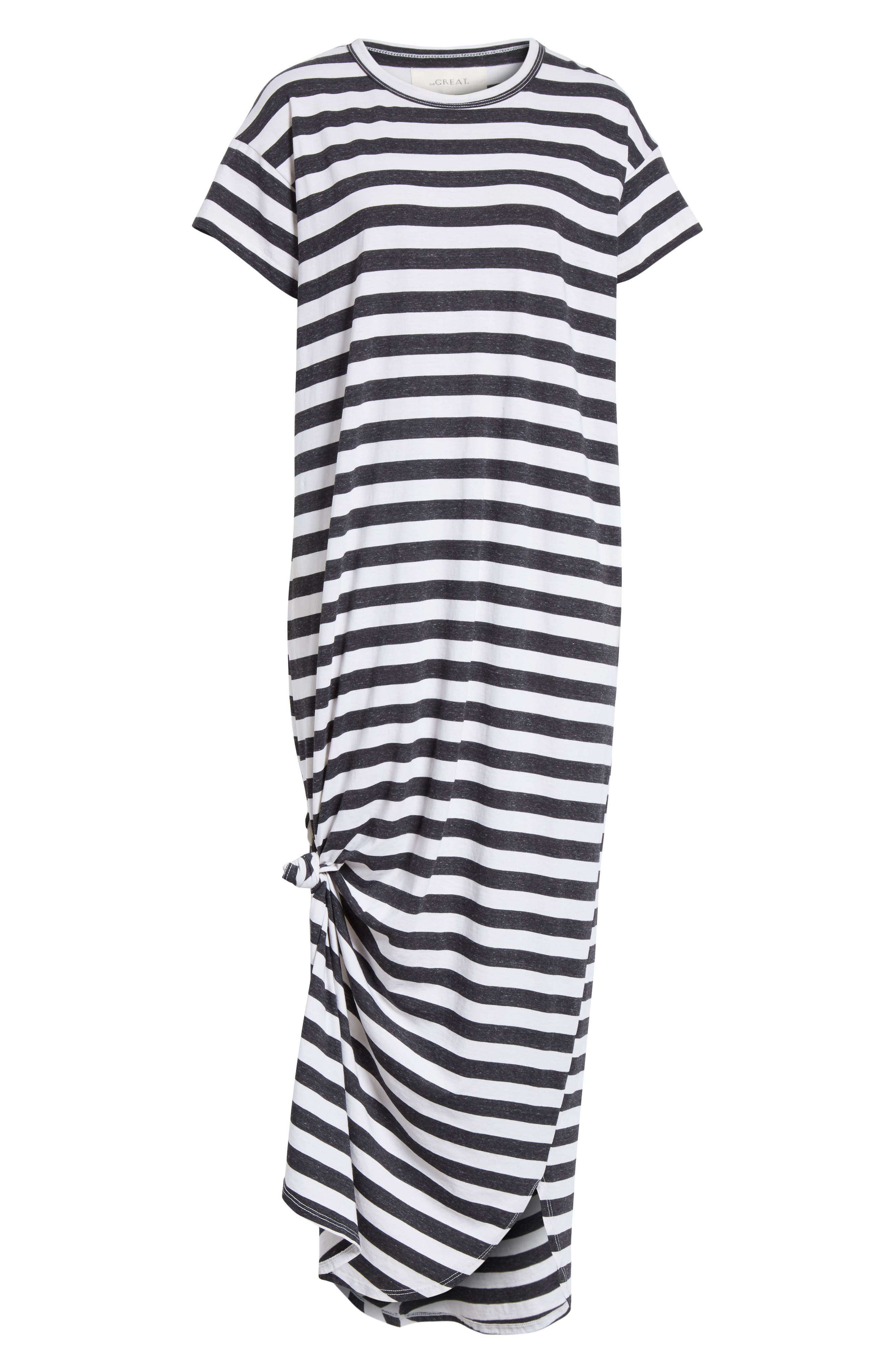 The Knotted Tee Dress,                             Alternate thumbnail 7, color,                             Charcoal Stripe