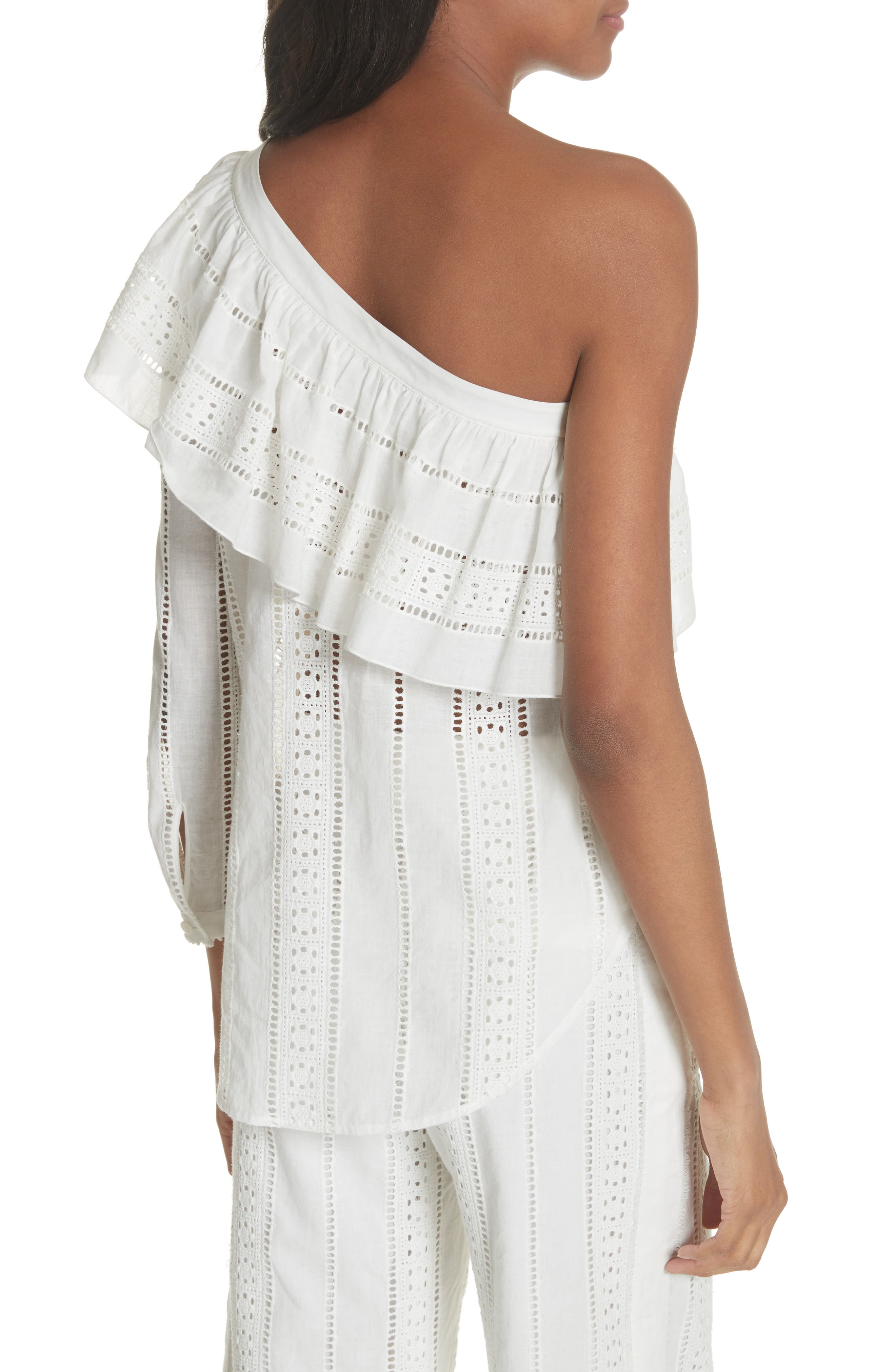 Cruz Eyelet One-Shoulder Top,                             Alternate thumbnail 2, color,                             White