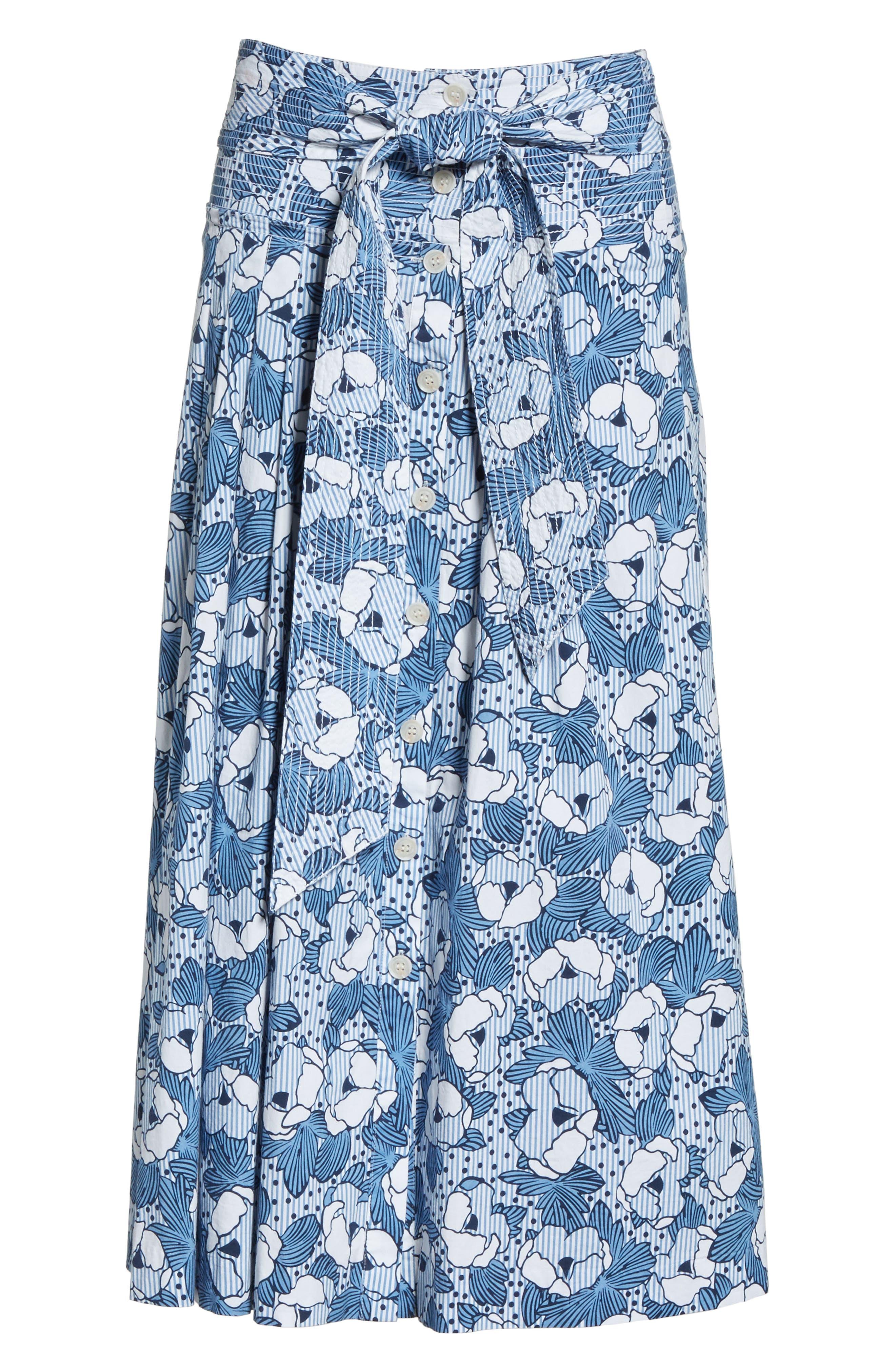 Caralina Floral Print Midi Skirt,                             Alternate thumbnail 6, color,                             Blue/ White