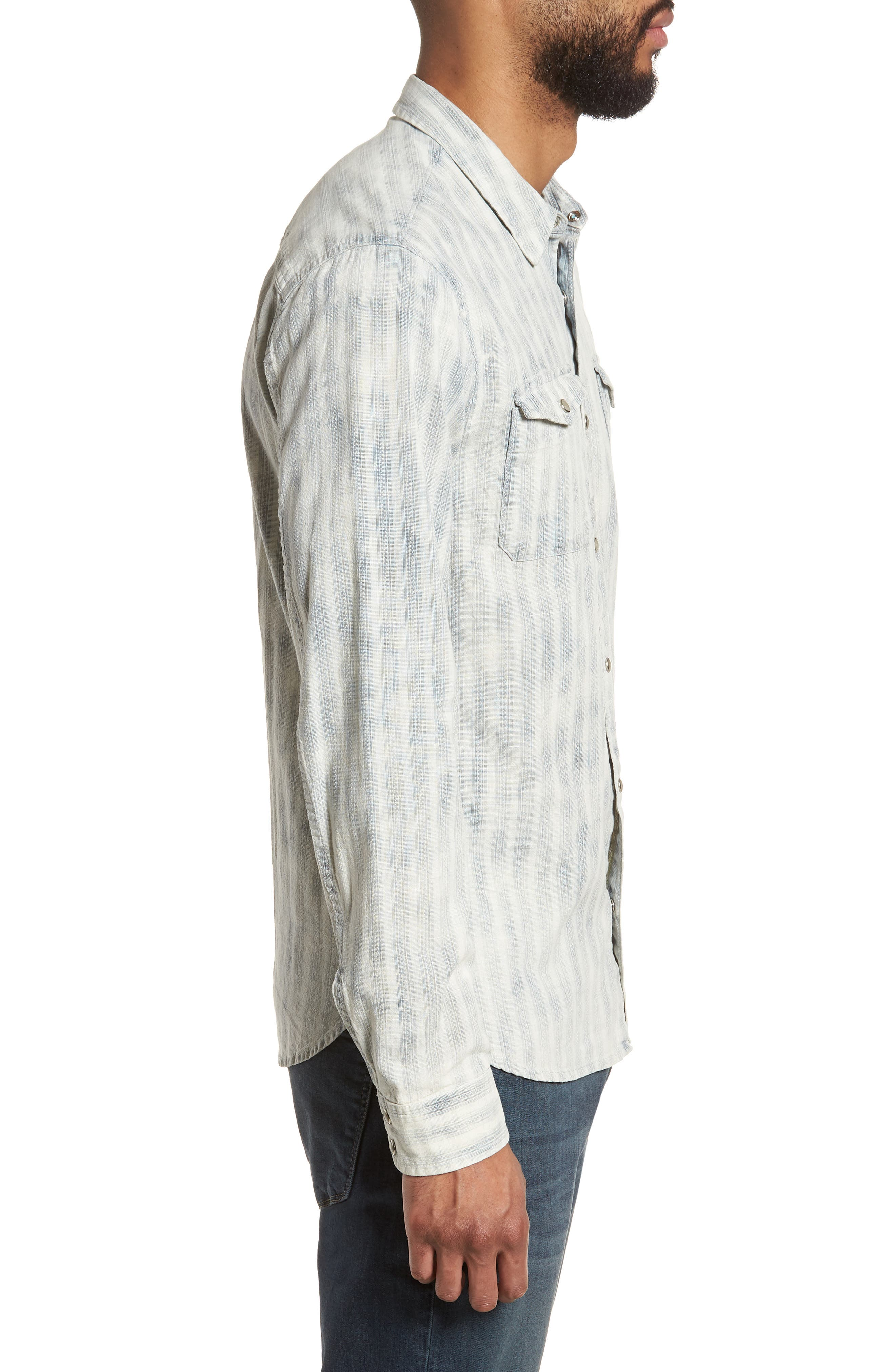 Extra Slim Fit Western Shirt,                             Alternate thumbnail 3, color,                             Reflection Grey