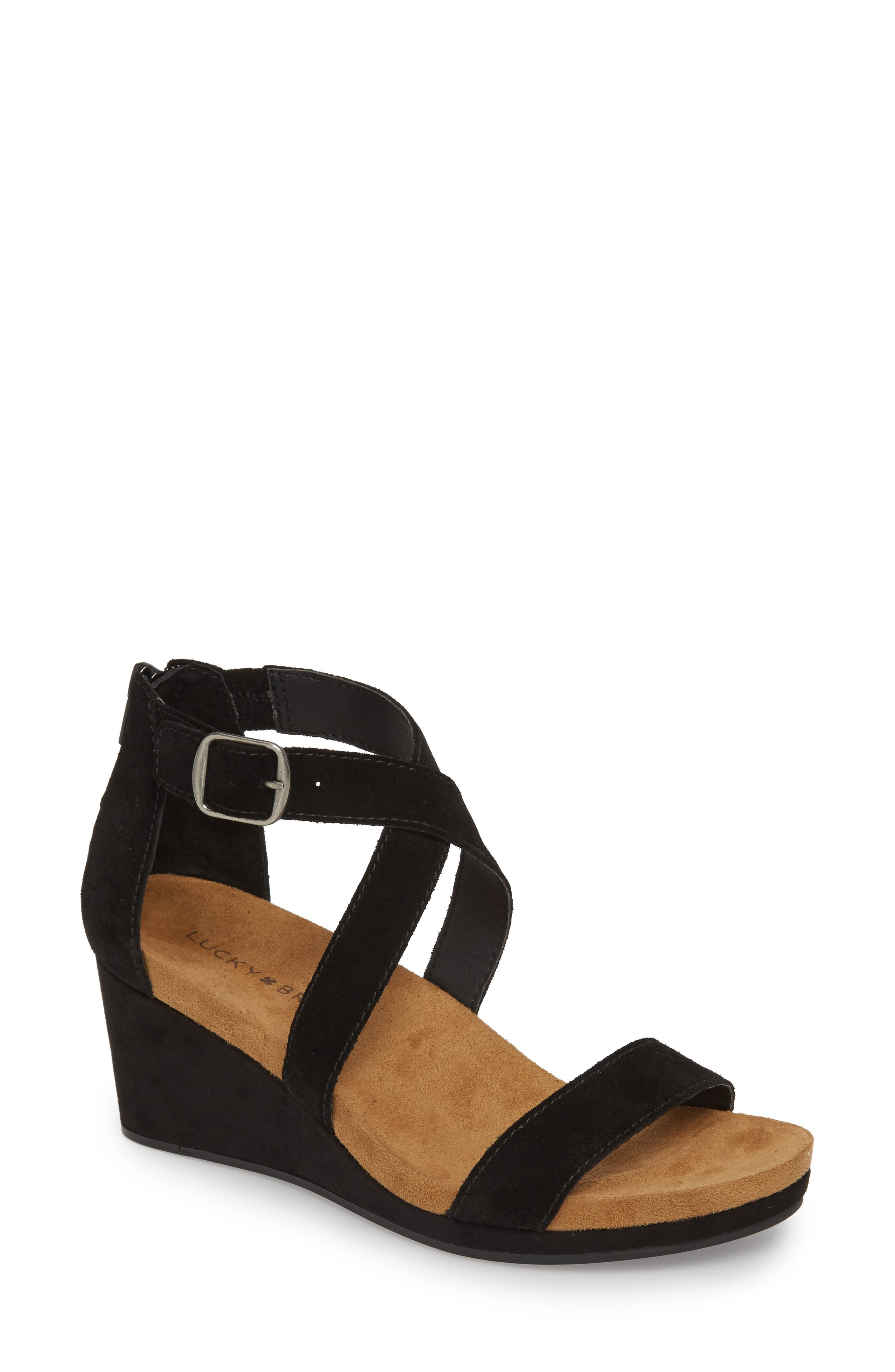 870fefc9e609 Lucky Brand Kenadee Wedge Sandal In Black Suede