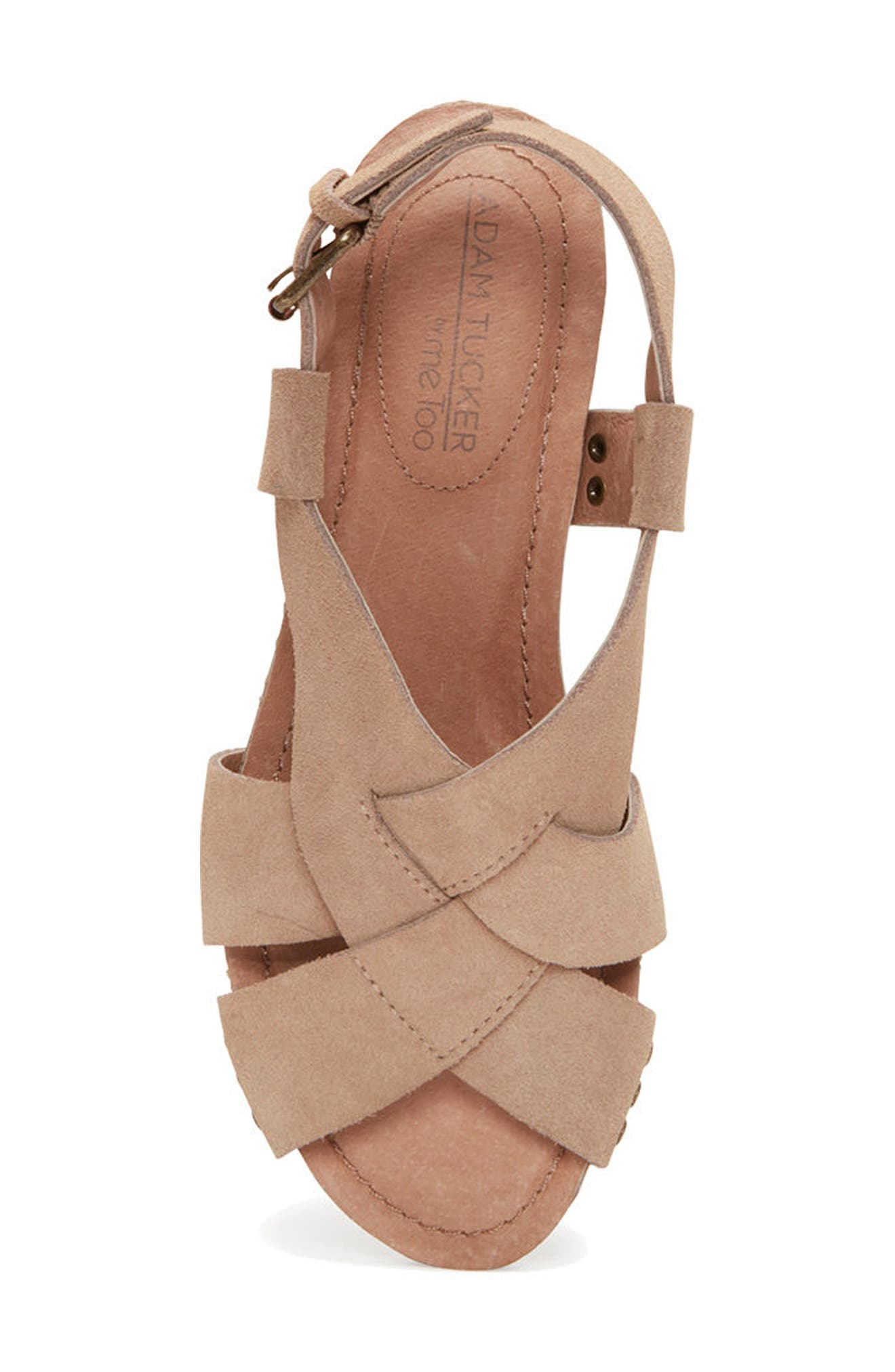 Adam Tucker Tarin Wedge Sandal,                             Alternate thumbnail 4, color,                             Rosewood Suede