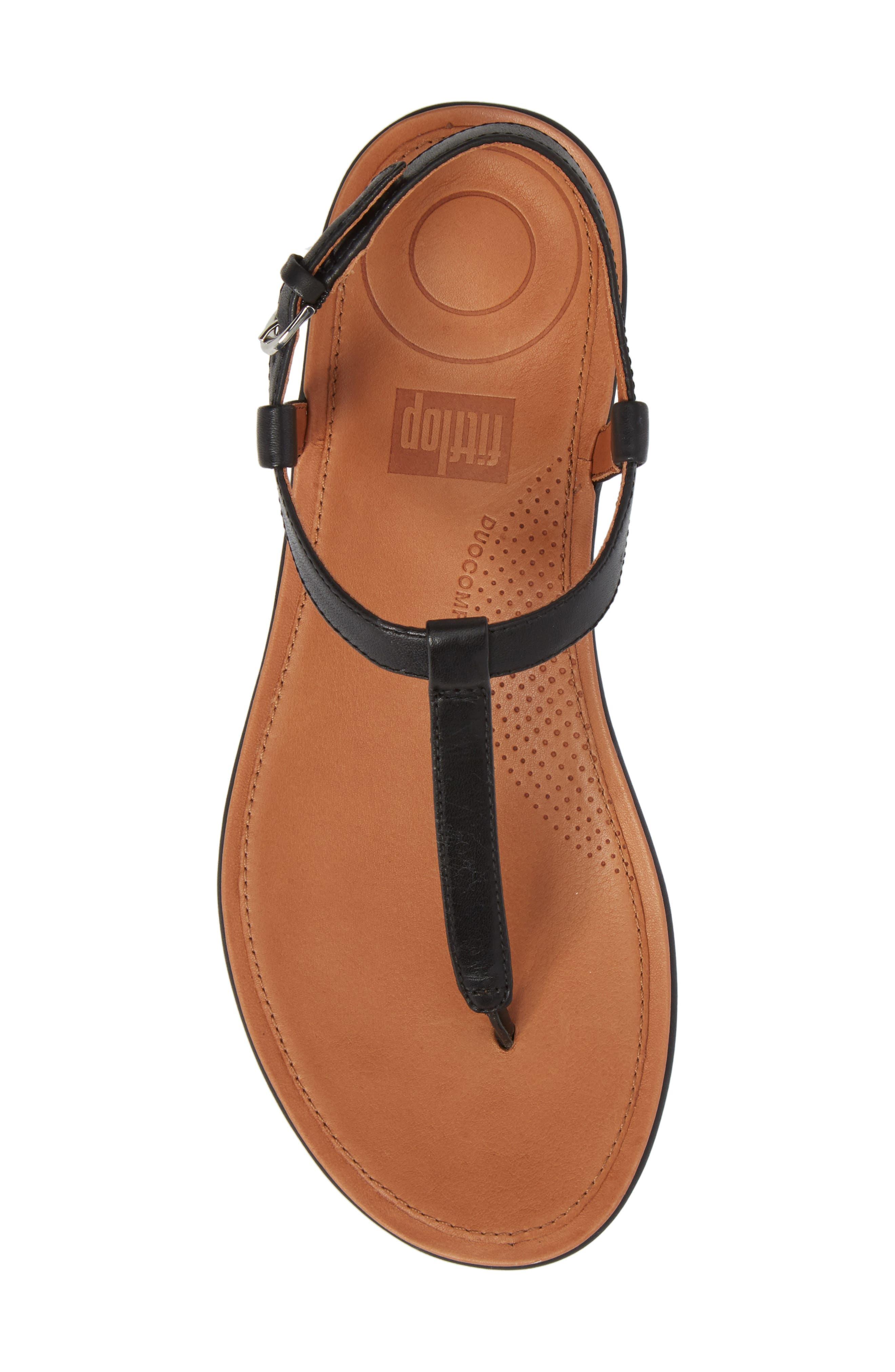 Tia Thong Sandal,                             Alternate thumbnail 5, color,                             Black Leather