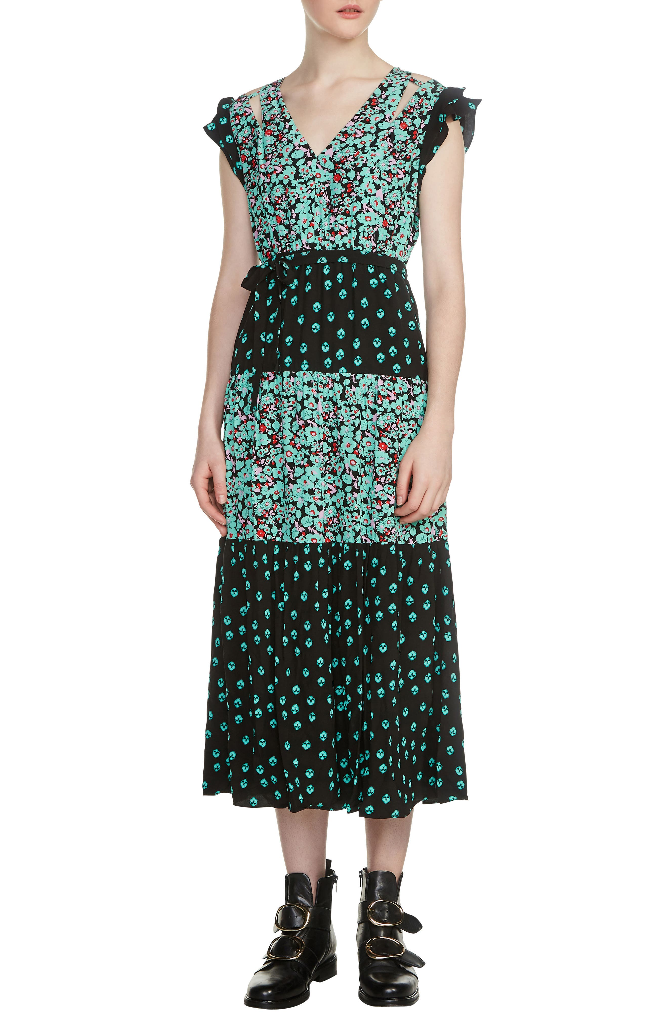 Renoli Mixed Print Midi Dress,                         Main,                         color, Printed