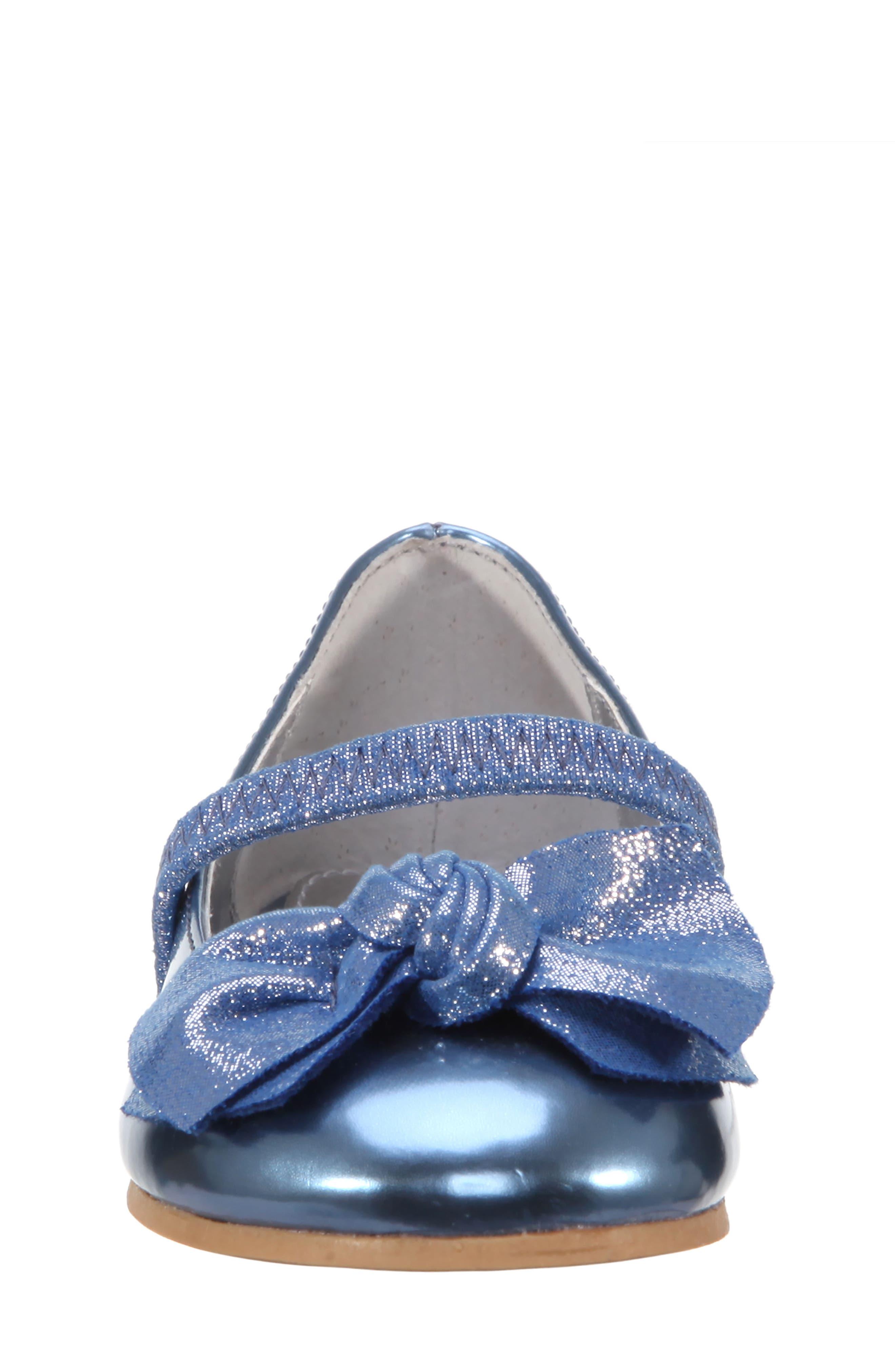 Kaytelyn-T Glitter Bow Ballet Flat,                             Alternate thumbnail 4, color,                             Blue Mirror Metallic