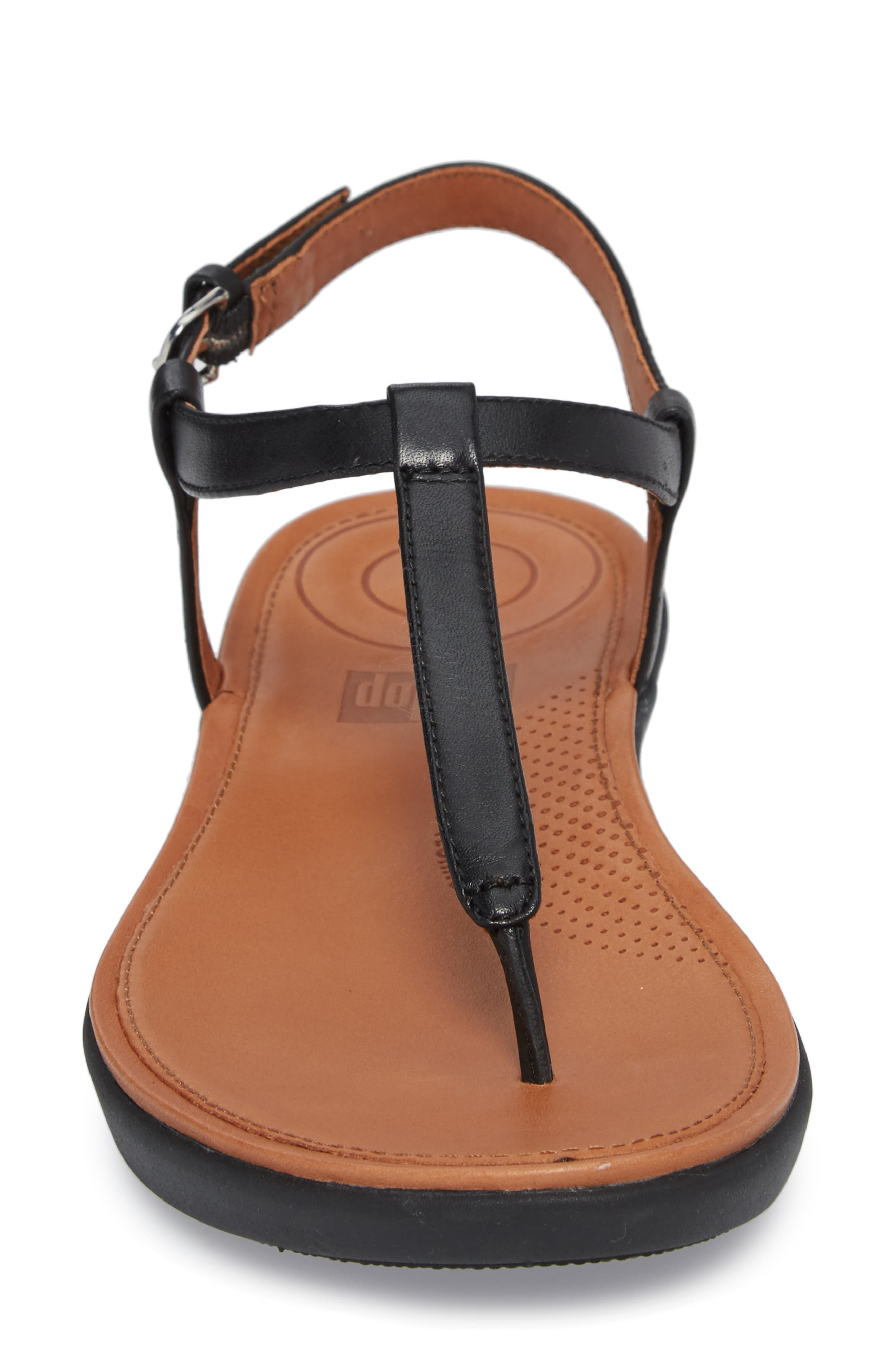 Tia Thong Sandal,                             Alternate thumbnail 4, color,                             Black Leather