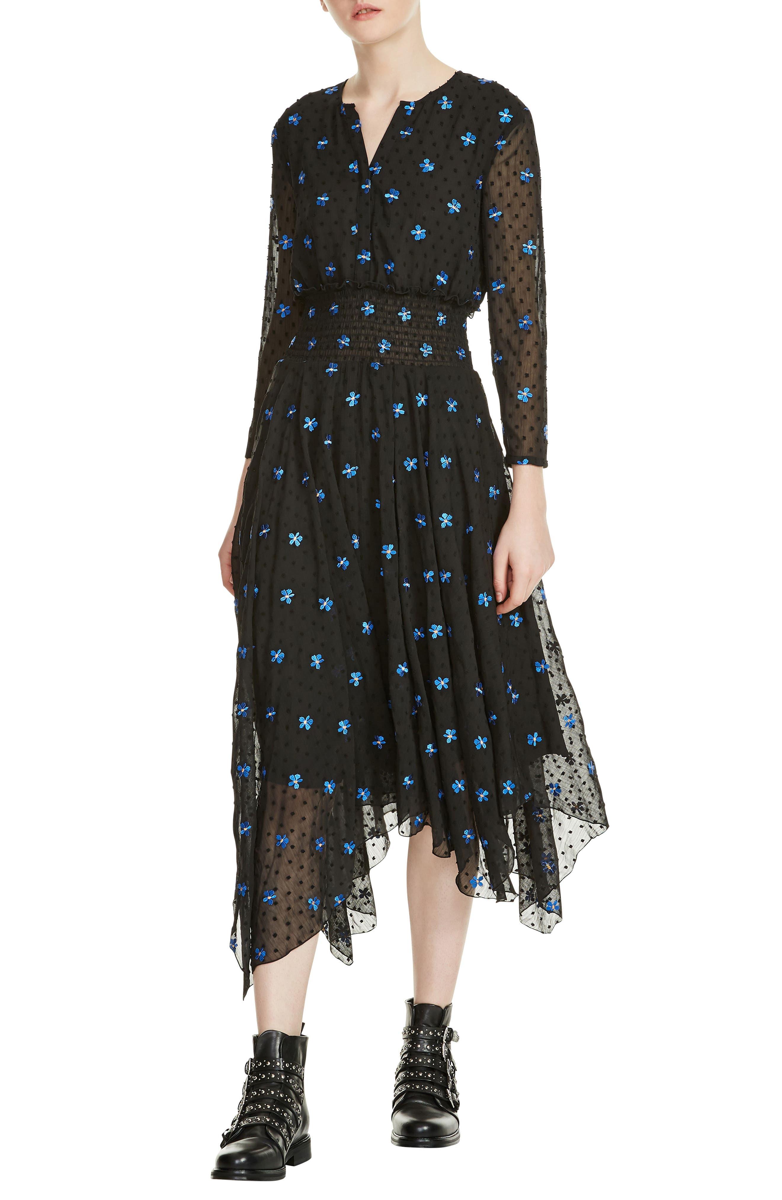Raiette Embroidered Handkerchief Dress,                             Main thumbnail 1, color,                             Black 210