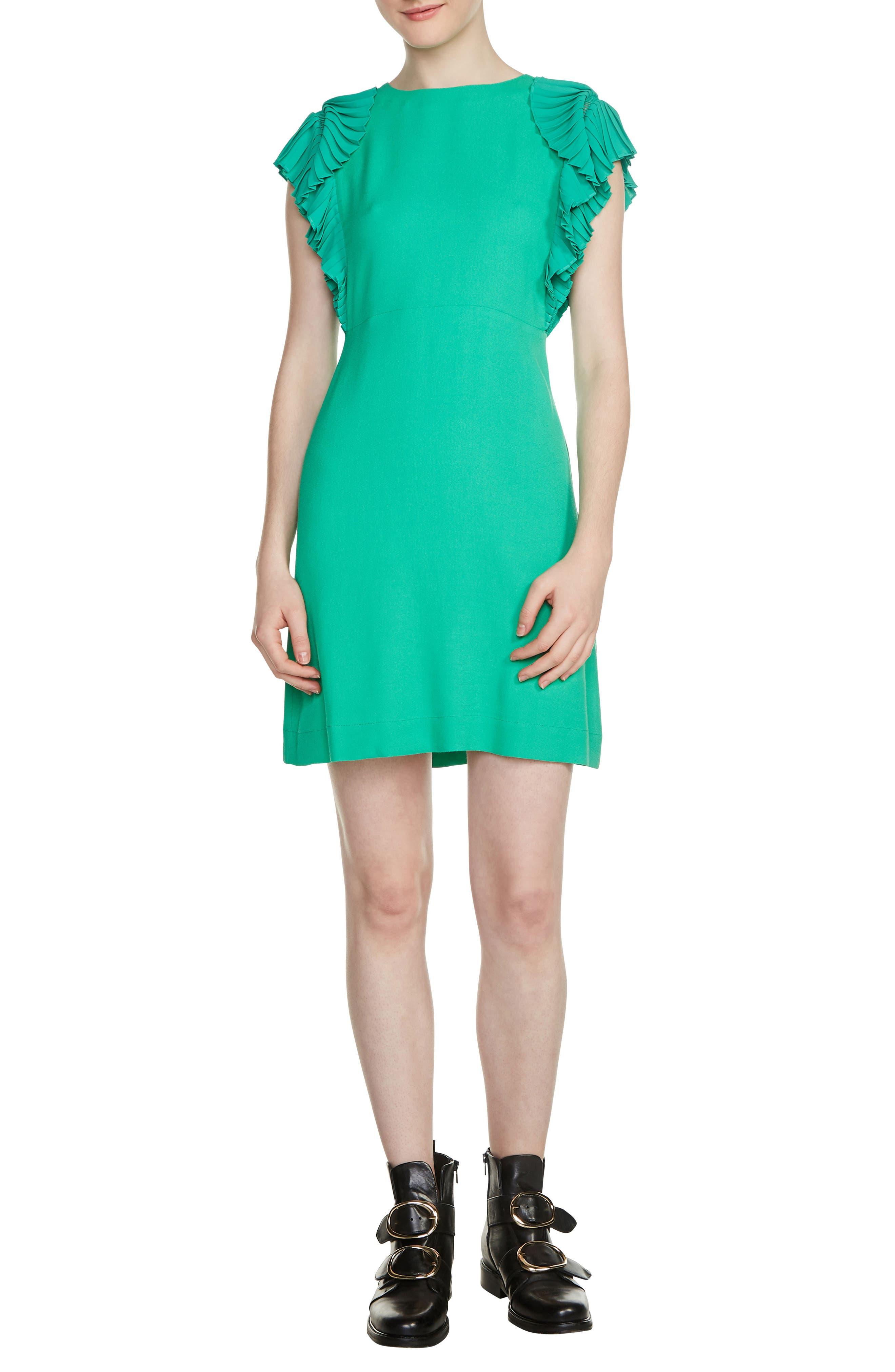 Rolana Ruffle Trim Dress,                             Main thumbnail 1, color,                             Green