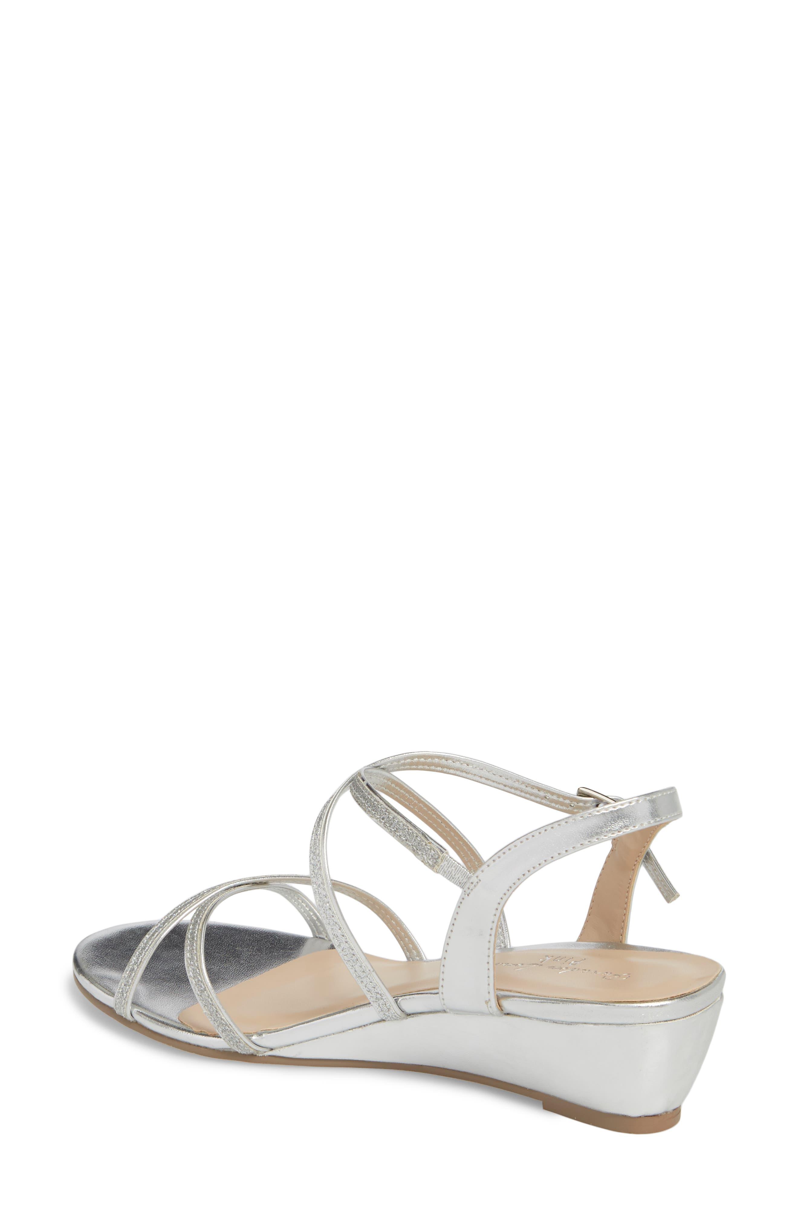 Kadie Wedge Sandal,                             Alternate thumbnail 2, color,                             Silver Glitter