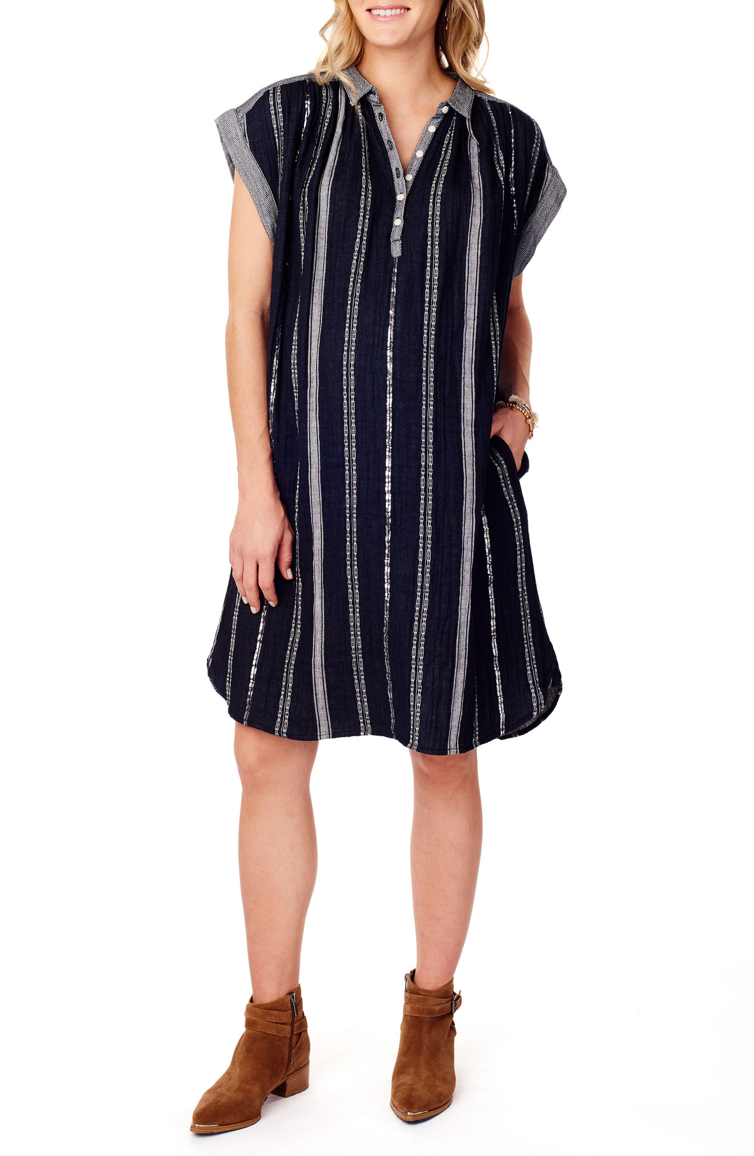 Ingrid & Isabel Maternity Shift Dress,                         Main,                         color, True Navy Lurex Stripe