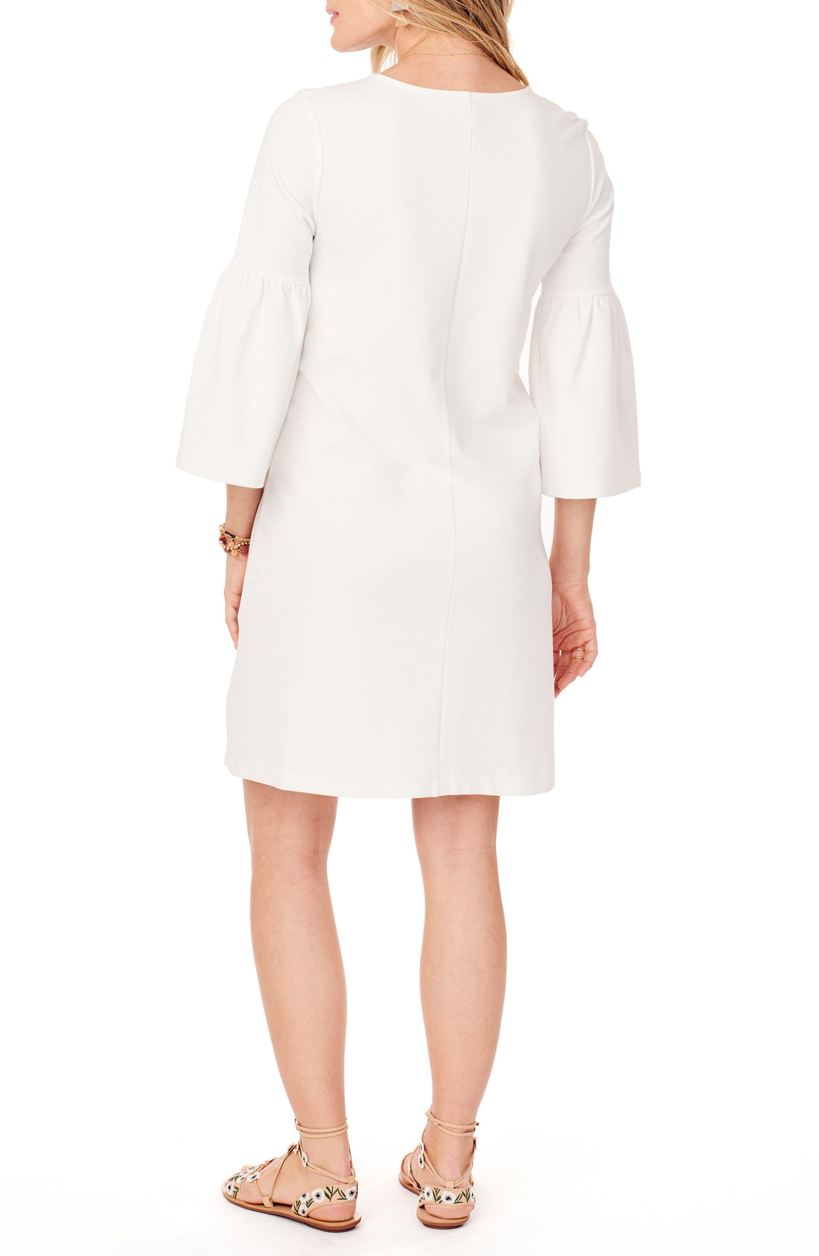 Ponte Knit Bell Sleeve Maternity Dress,                             Alternate thumbnail 2, color,                             Ivory