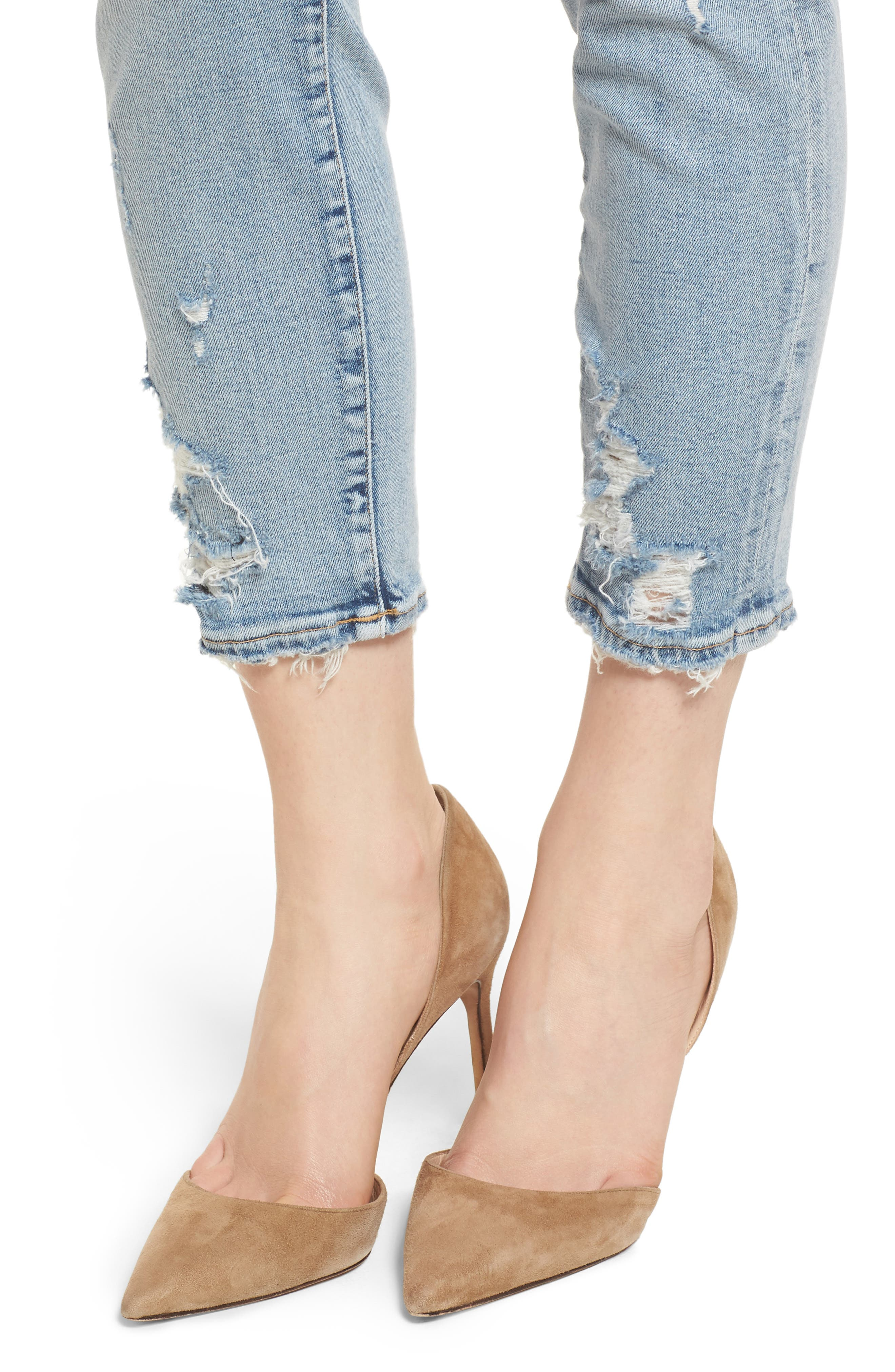 Sophie Distressed High Waist Crop Skinny Jeans,                             Alternate thumbnail 4, color,                             Vertigo