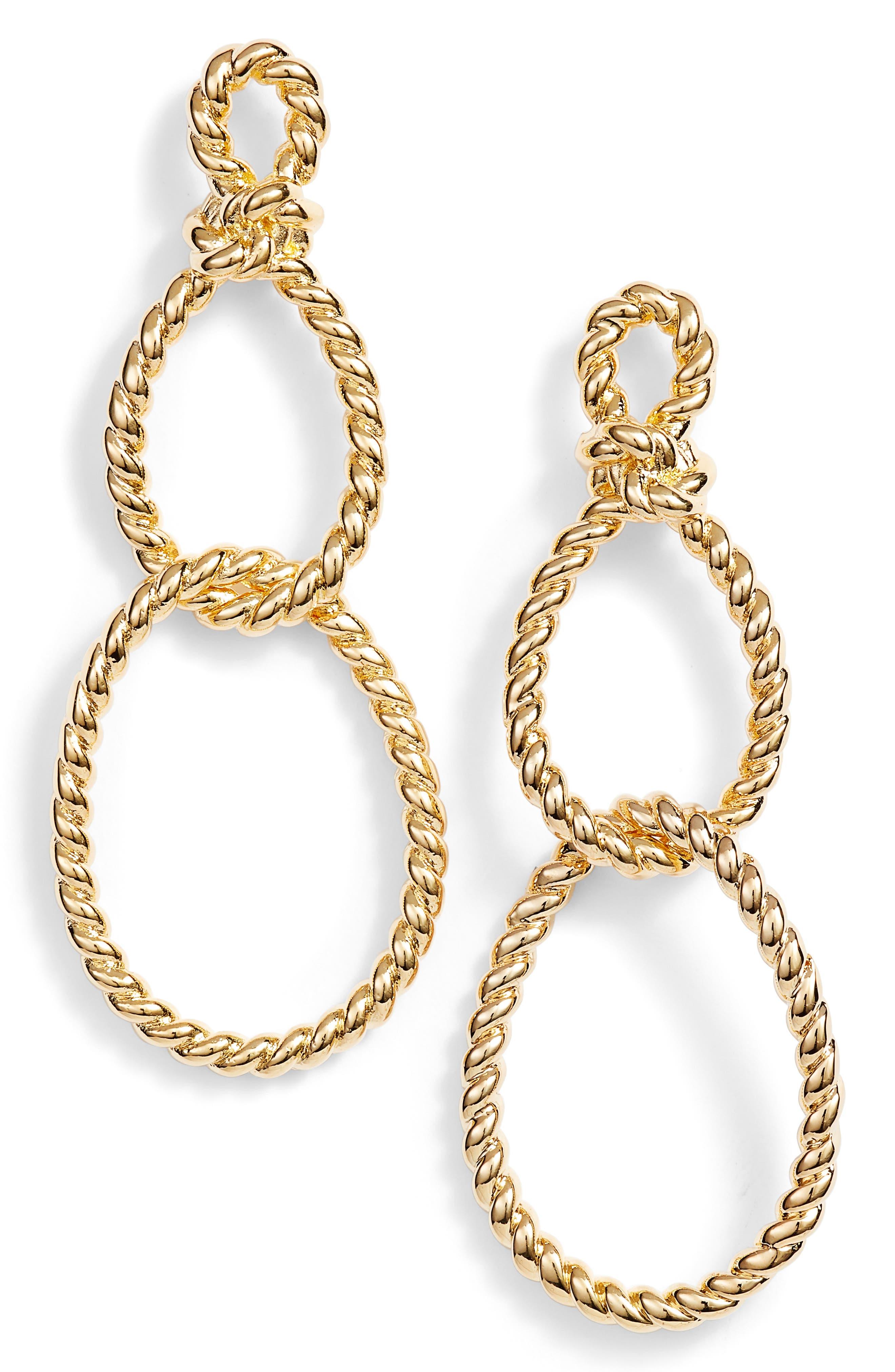 kate spade sailor knot statement earrings,                             Main thumbnail 1, color,                             Gold