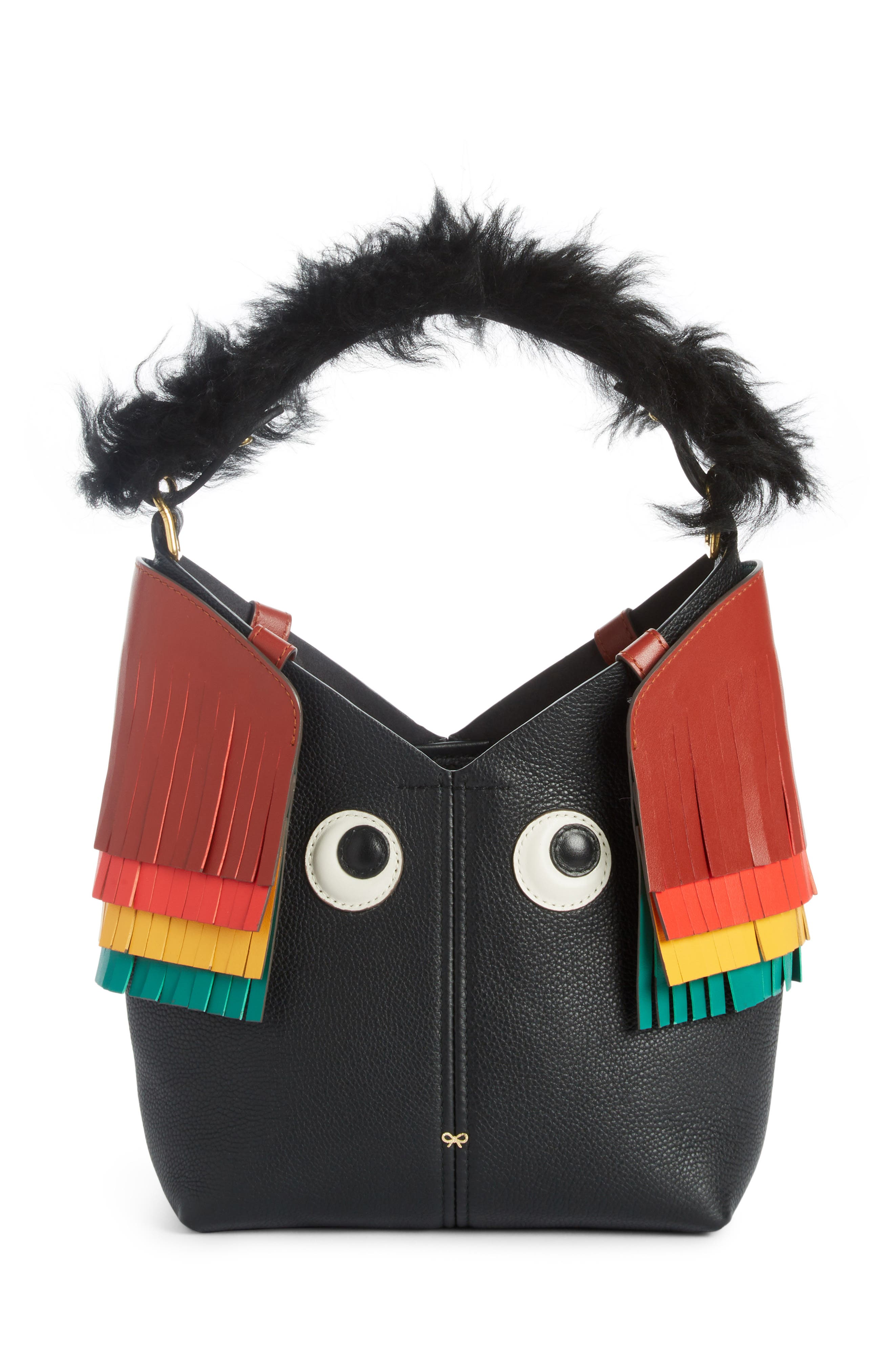 Build a Bag Mini Creature Leather Shoulder Bag with Genuine Shearling,                         Main,                         color, Black