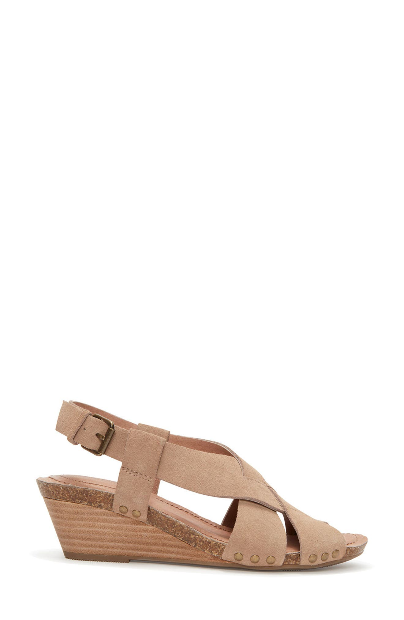 Adam Tucker Tarin Wedge Sandal,                             Alternate thumbnail 3, color,                             Rosewood Suede