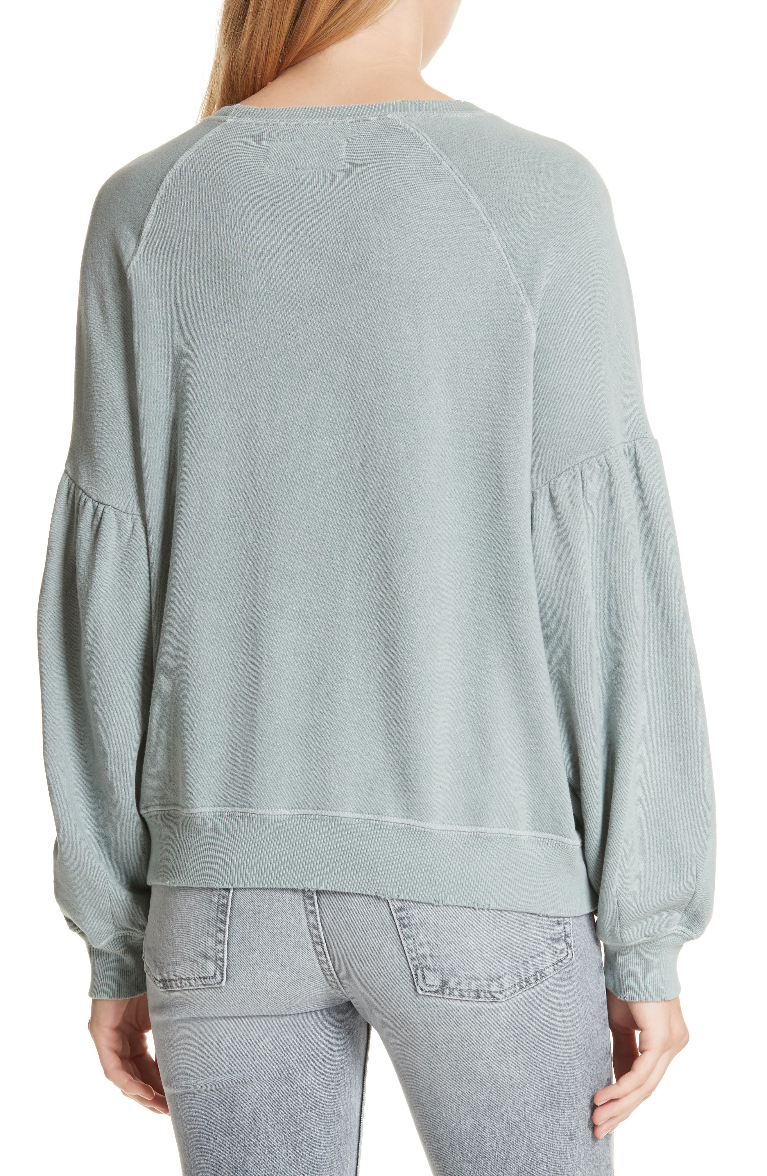 The Bishop Sleeve Sweatshirt,                             Alternate thumbnail 2, color,                             Sea Glass
