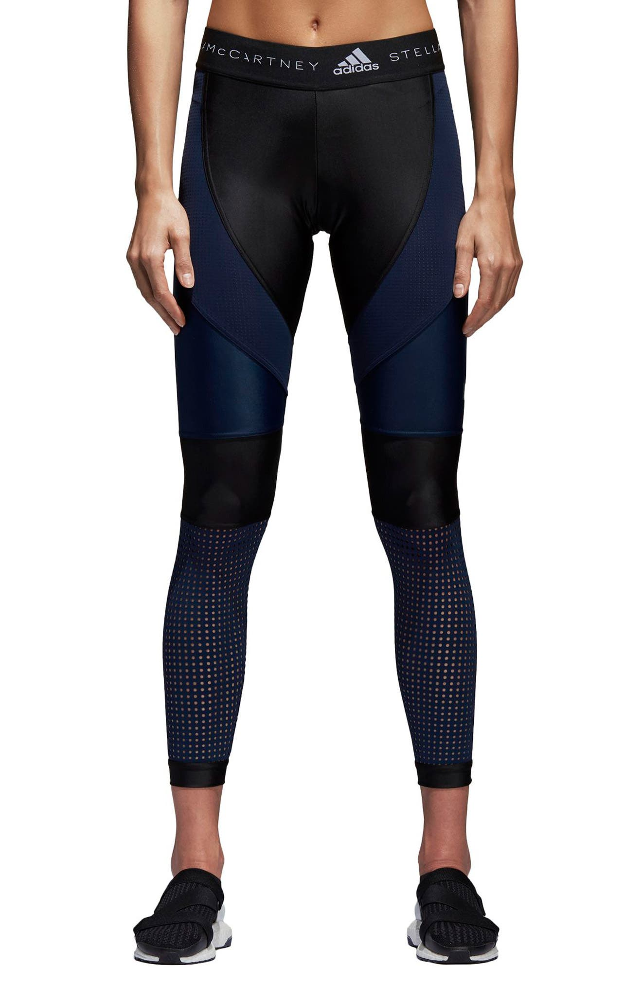 Run Crop Climalite<sup>®</sup> Tights,                         Main,                         color, Black/ Collegiate Navy