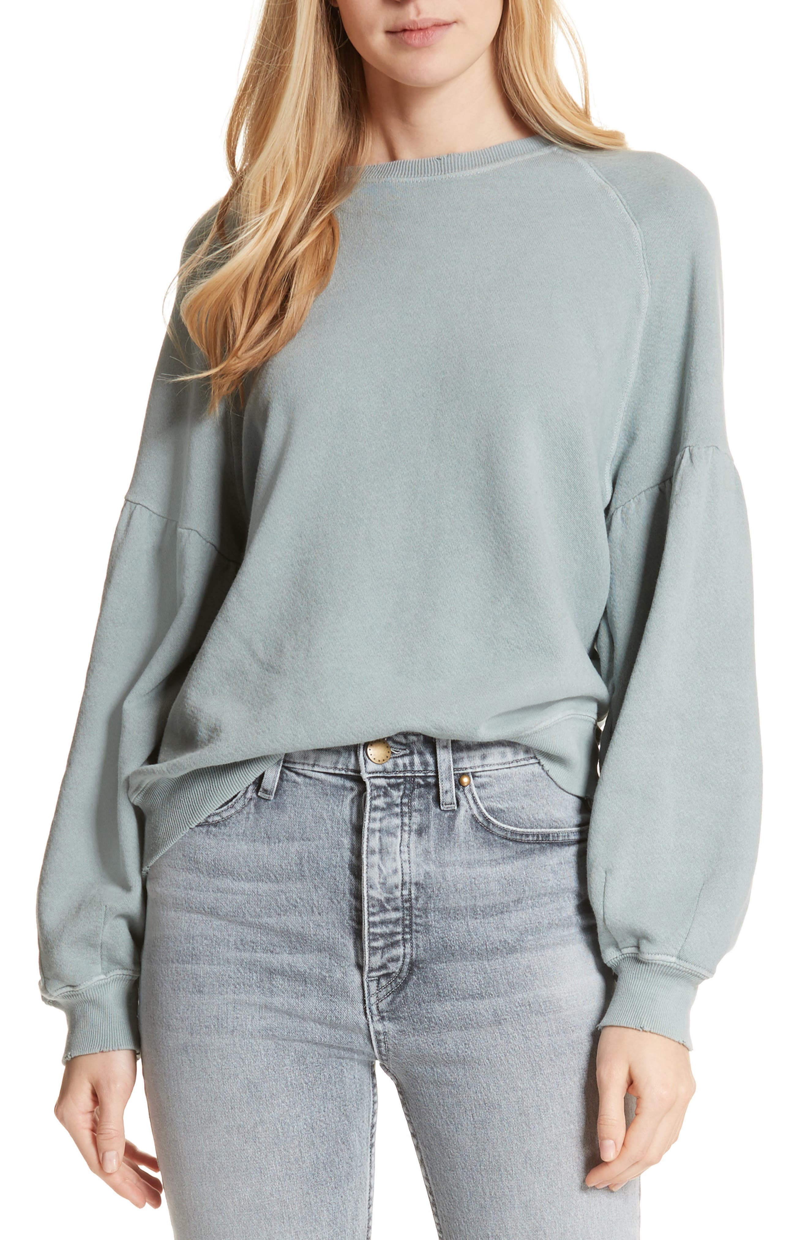 The Bishop Sleeve Sweatshirt,                         Main,                         color, Sea Glass