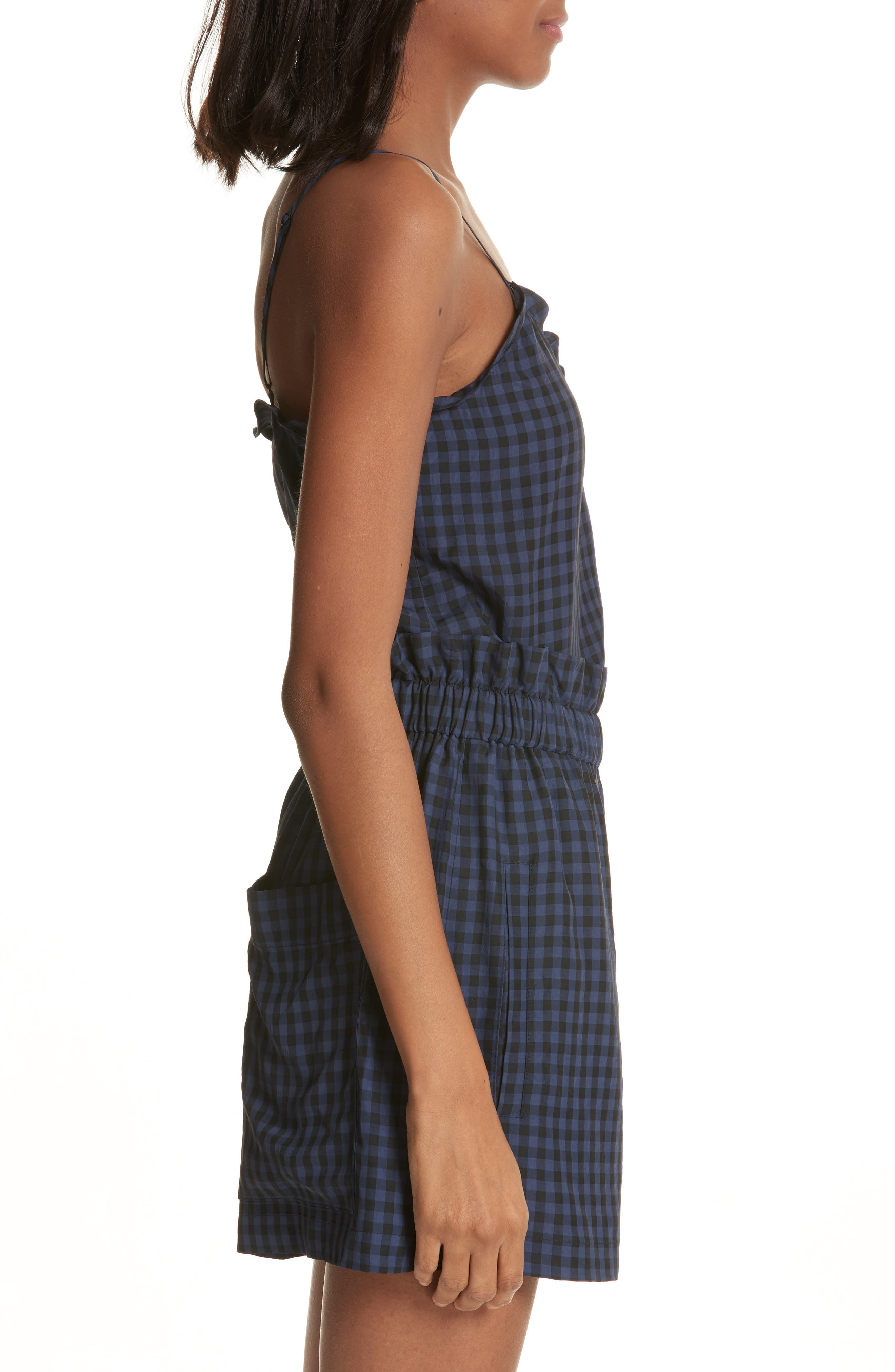 Ruffled Gingham Camisole,                             Alternate thumbnail 3, color,                             Navy Multi