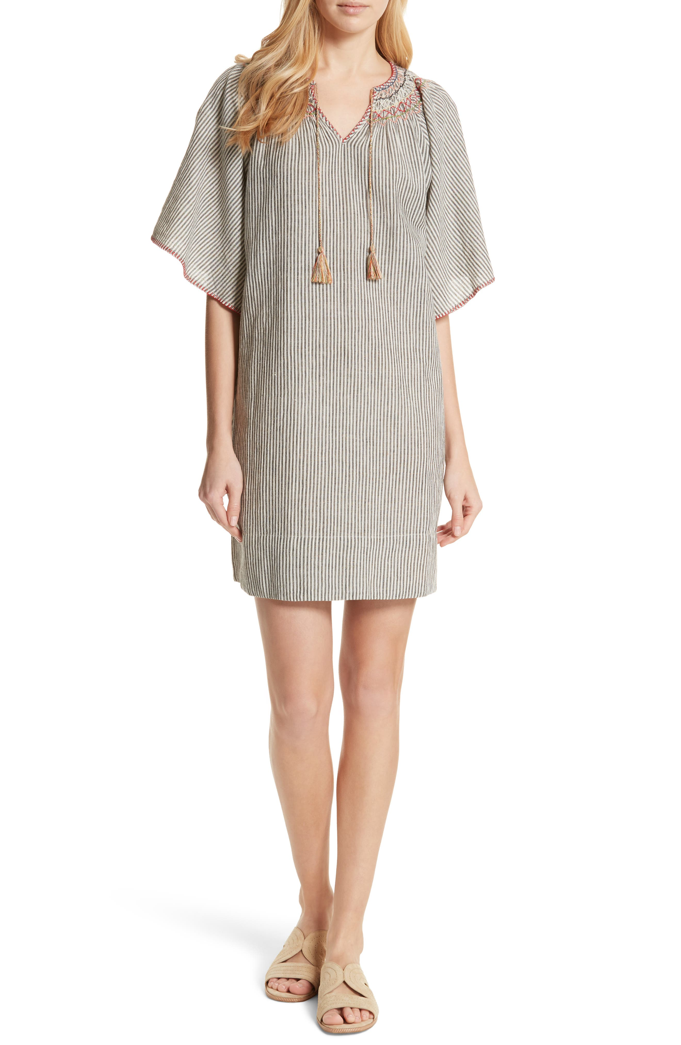 The Butterfly Smock Dress,                             Main thumbnail 1, color,                             Rail Stripe