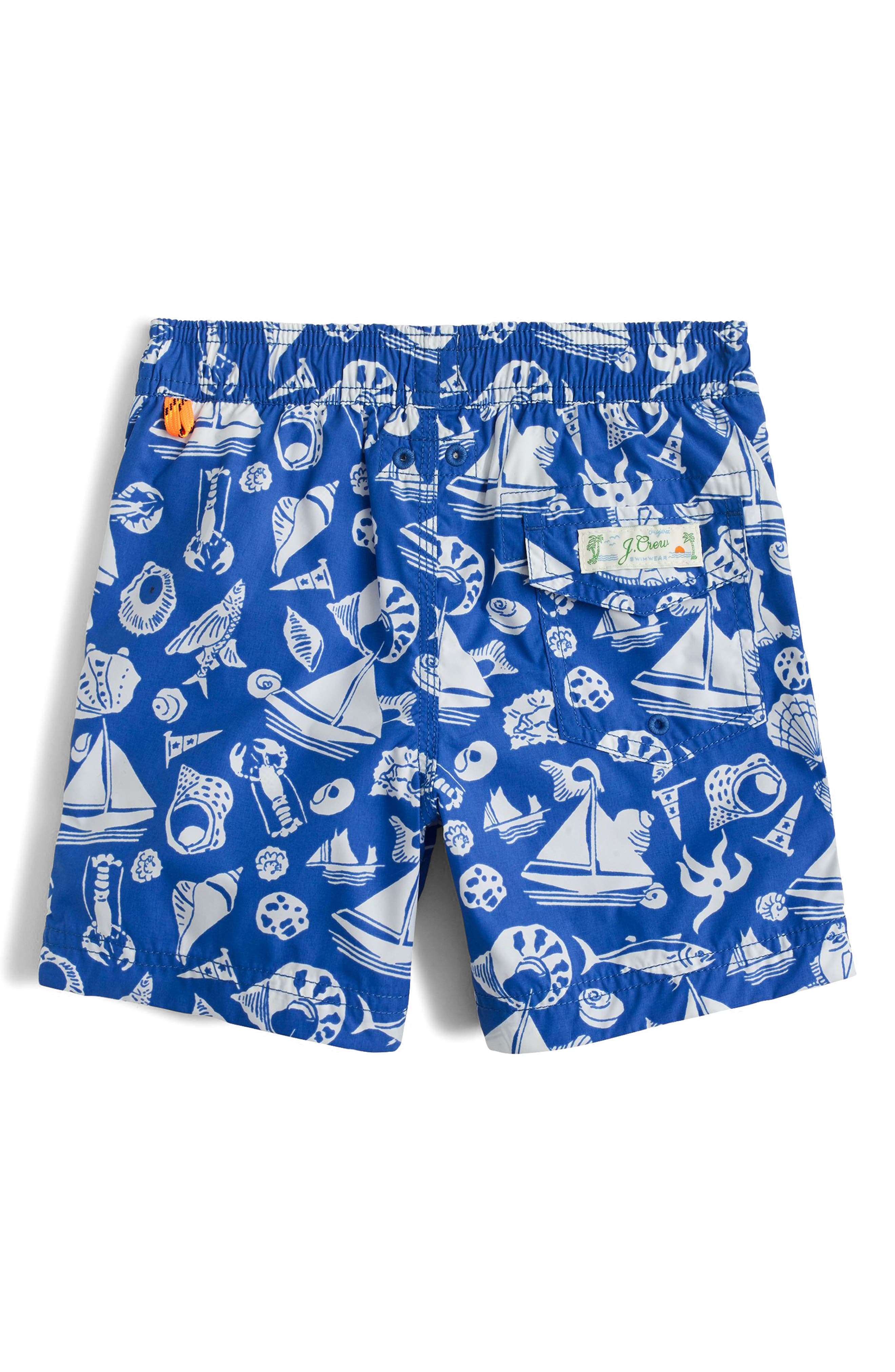 Seaside Life Swim Trunks,                             Alternate thumbnail 2, color,                             Royal Bay