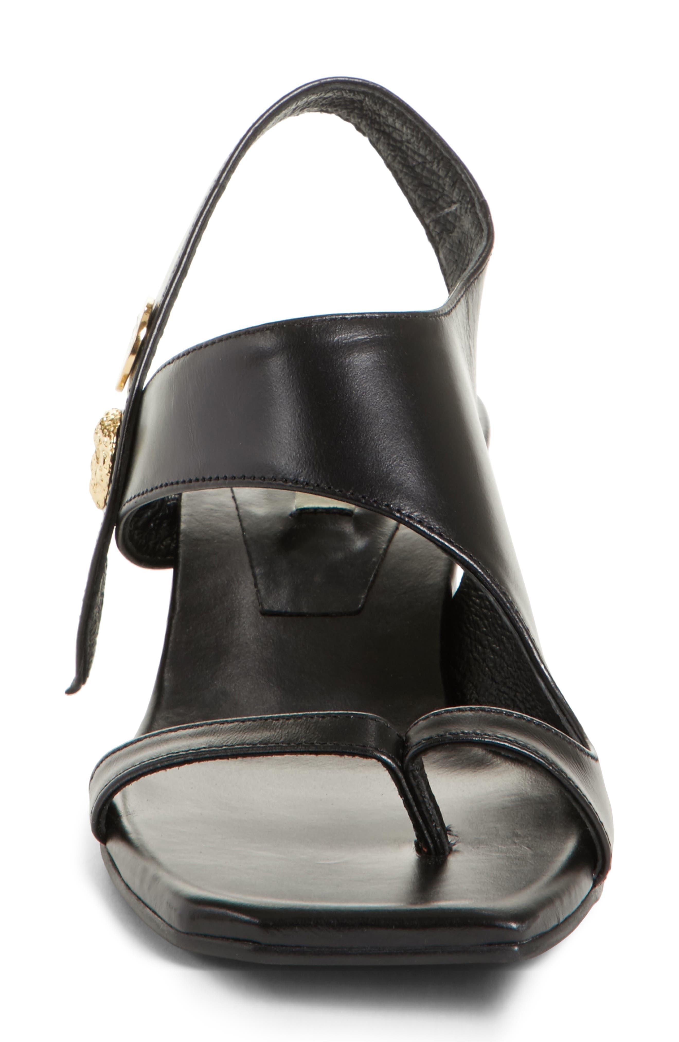 Embellished Leather Sandal,                             Alternate thumbnail 5, color,                             Black