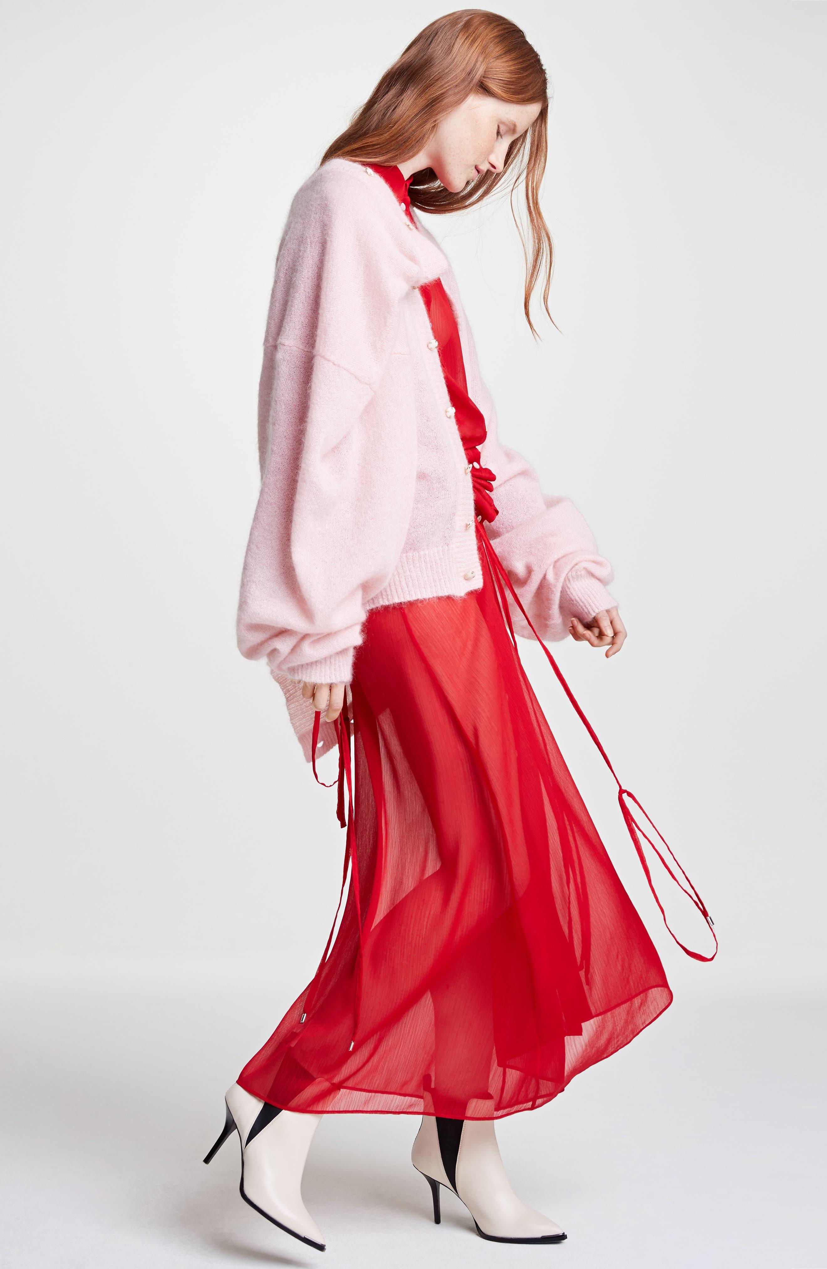 Sheer Drawstring Shirtdress,                             Alternate thumbnail 2, color,                             Red