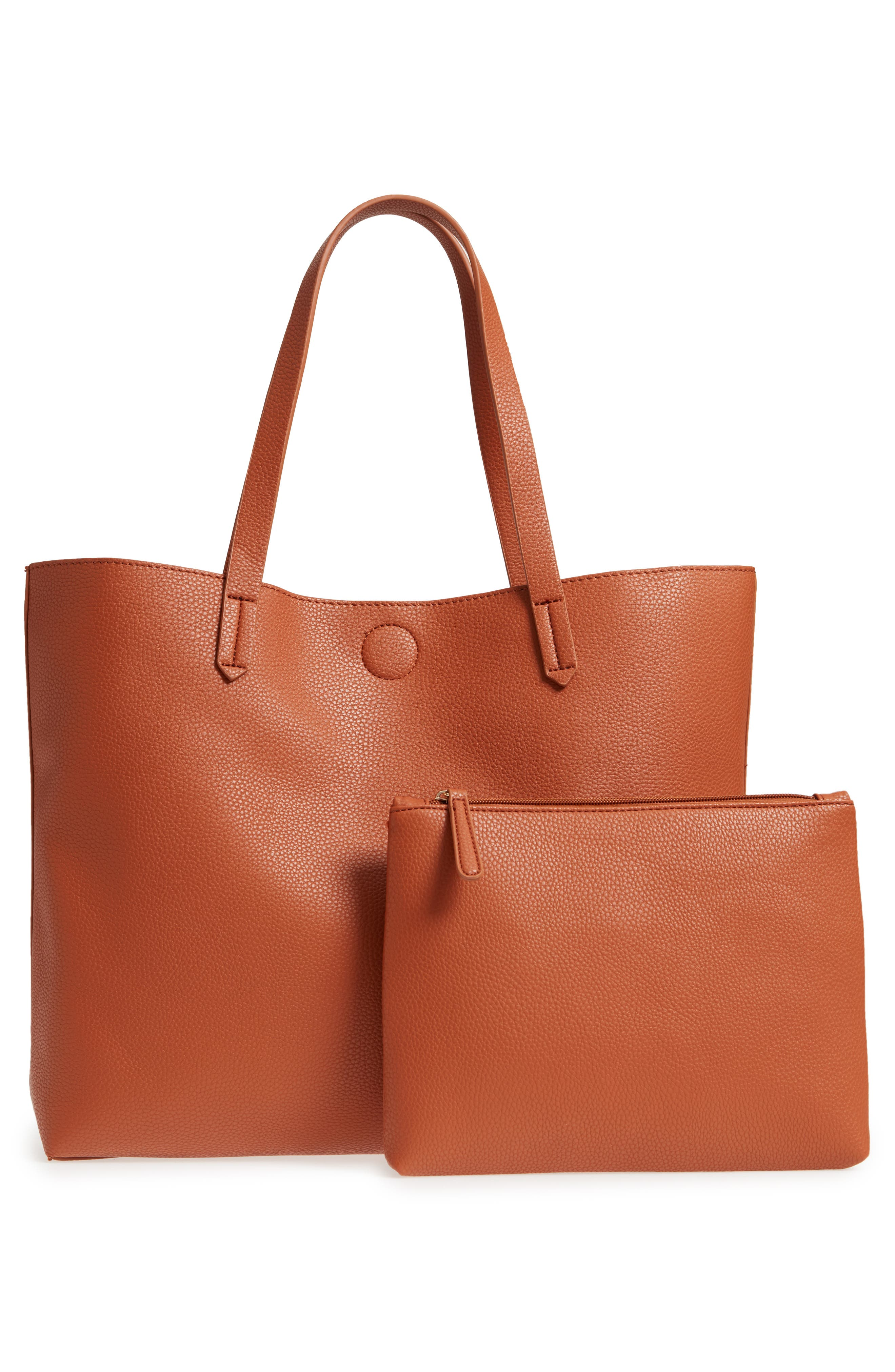 Contrast Lining Faux Leather Tote,                             Main thumbnail 1, color,                             Cognac