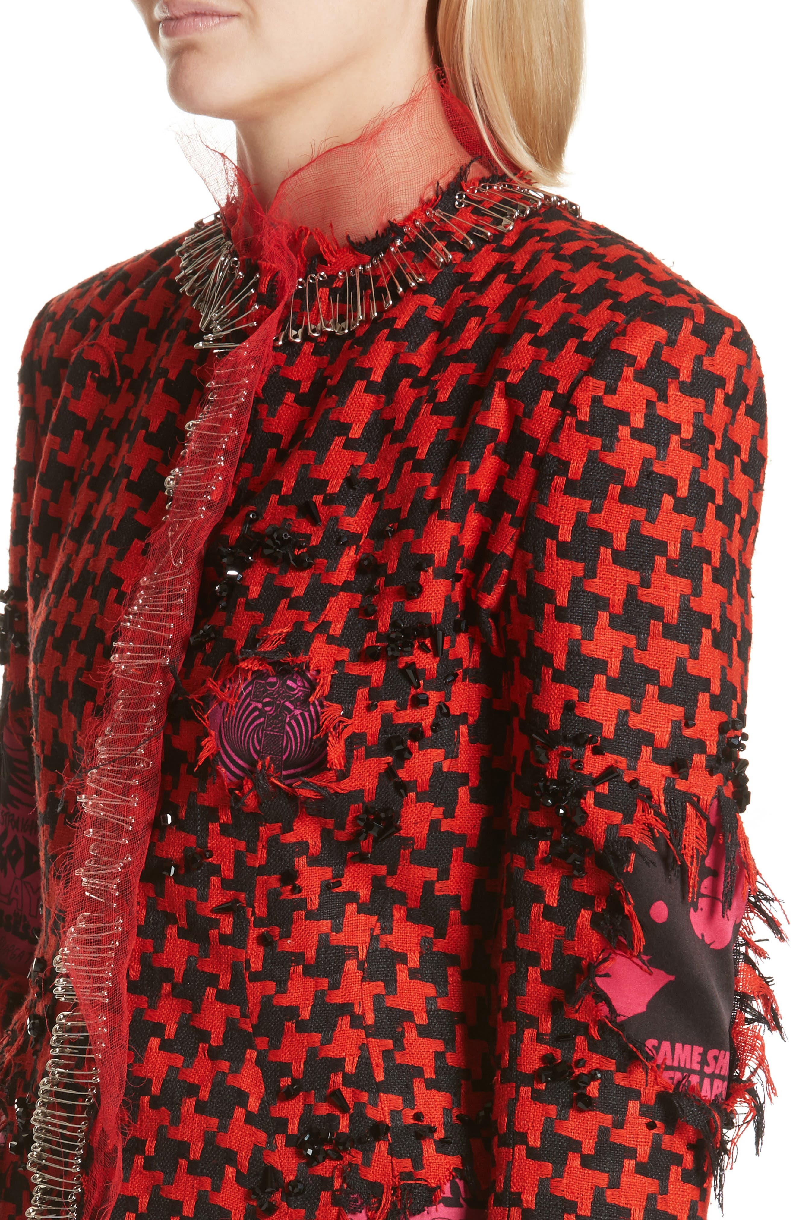 Prime Minister Houndstooth Wool Jacket,                             Alternate thumbnail 4, color,                             Red