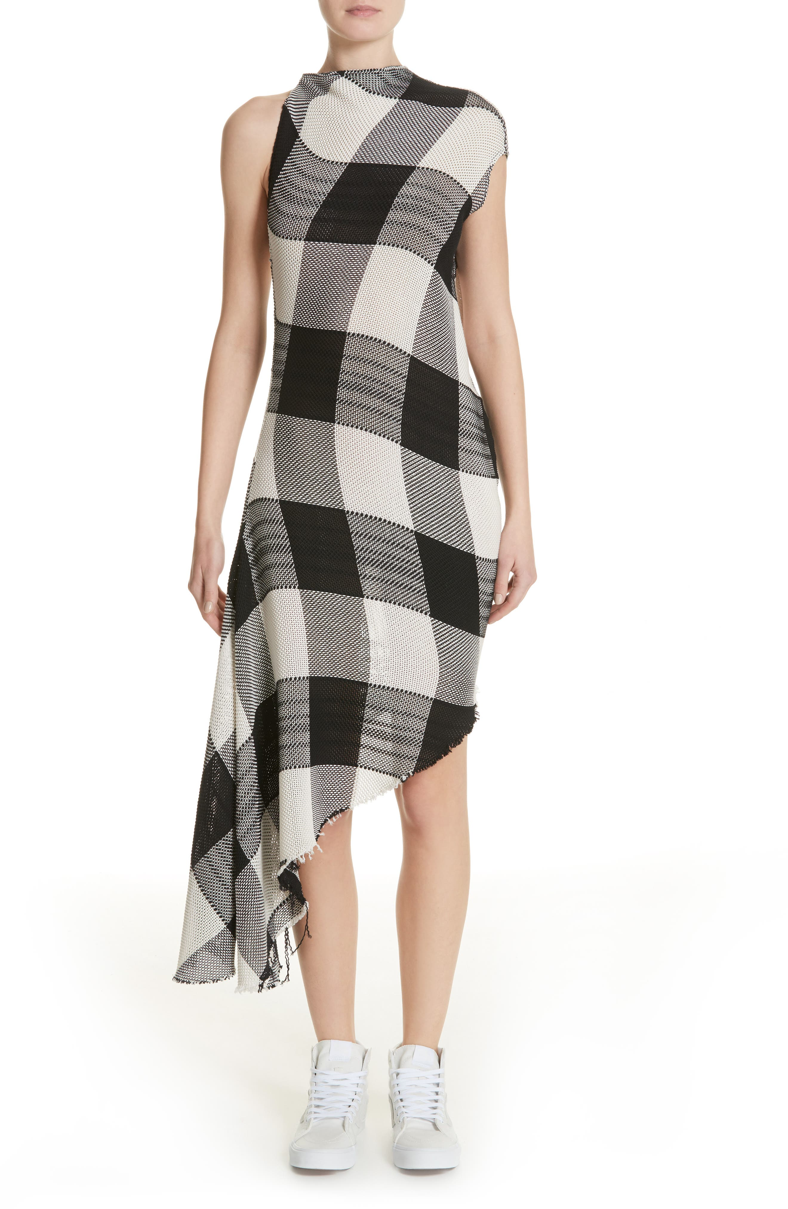 Marques'Almeida Asymmetrical Gingham Sheath Dress,                         Main,                         color, Black/White