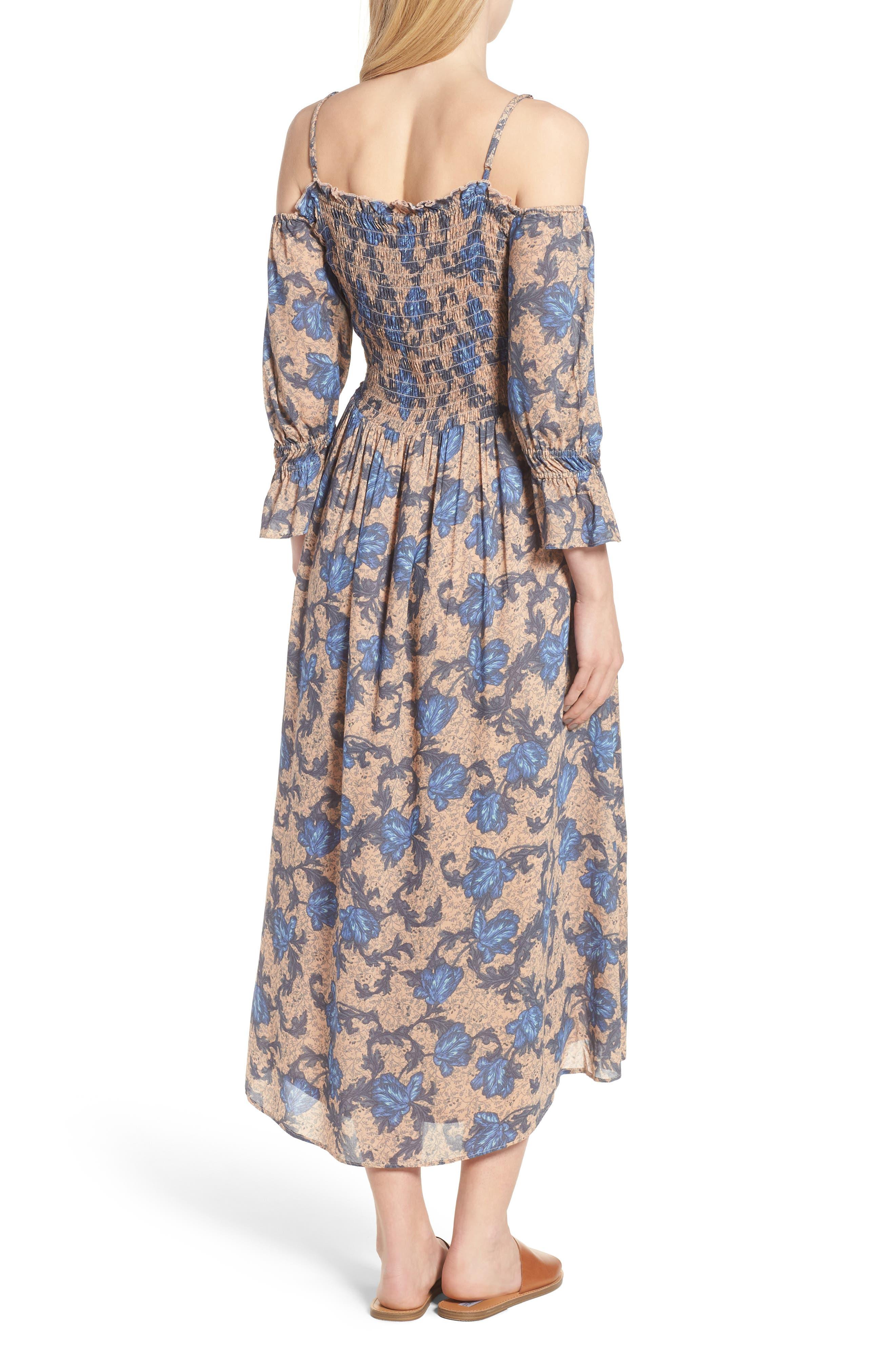 Smocked Back Cold Shoulder Dress,                             Alternate thumbnail 2, color,                             Beige Maple Wallpaper Ivy