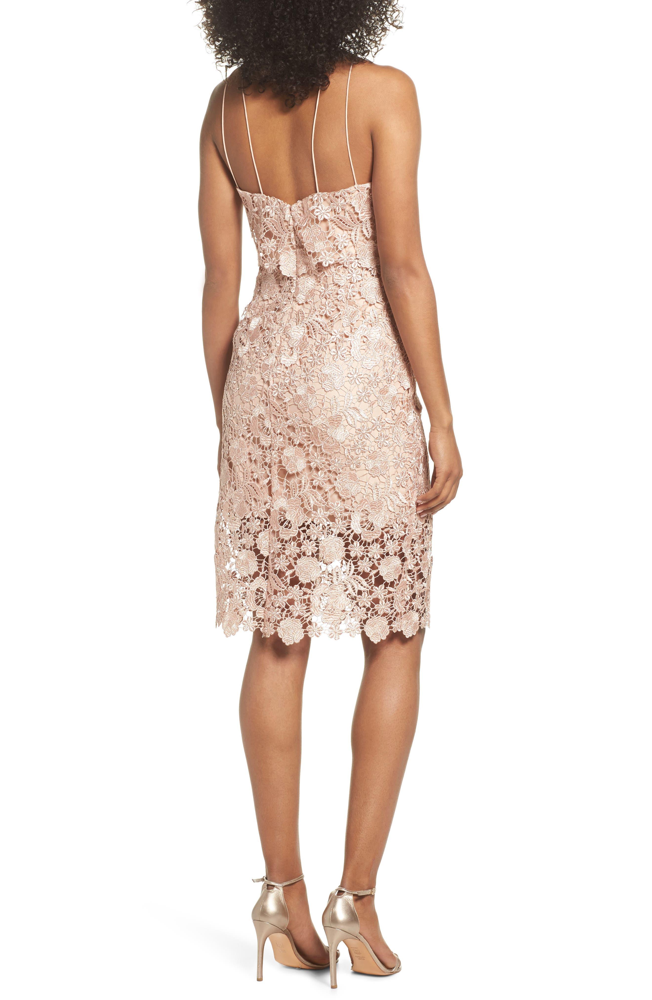 Freya Lace Sheath Dress,                             Alternate thumbnail 2, color,                             Cameo Pink