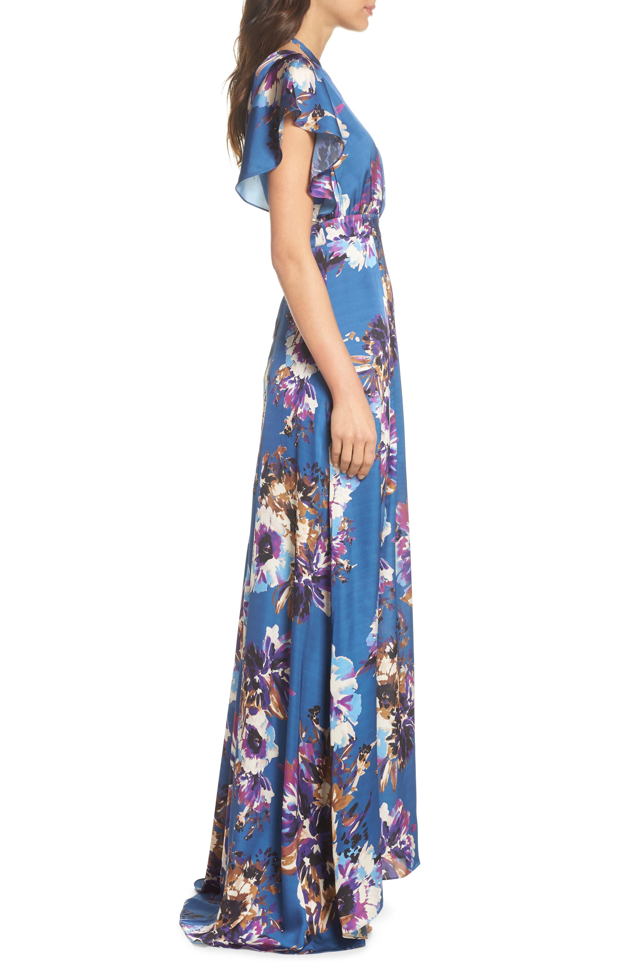 Floral Maxi Dress,                             Alternate thumbnail 4, color,                             French Blue Floral Satin