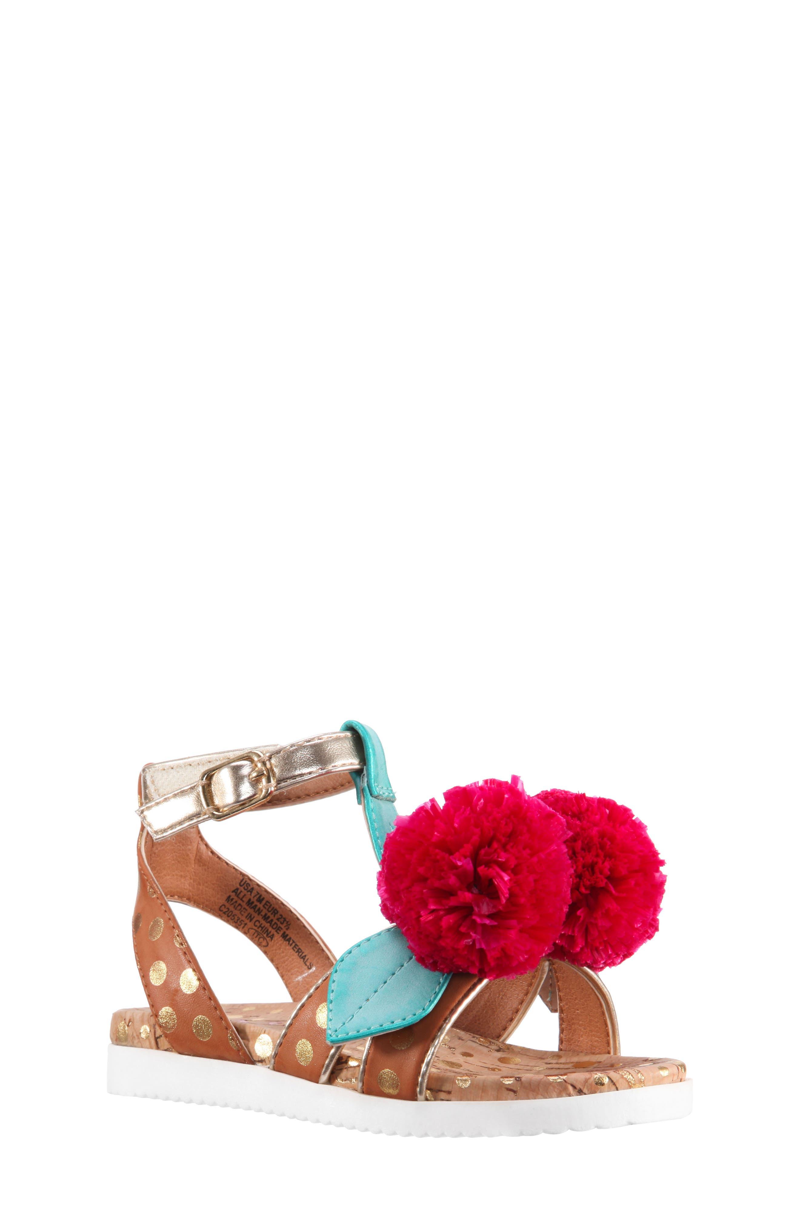 Kyeleigh Pom Flower Sandal,                             Main thumbnail 1, color,                             Light Tan Burnish